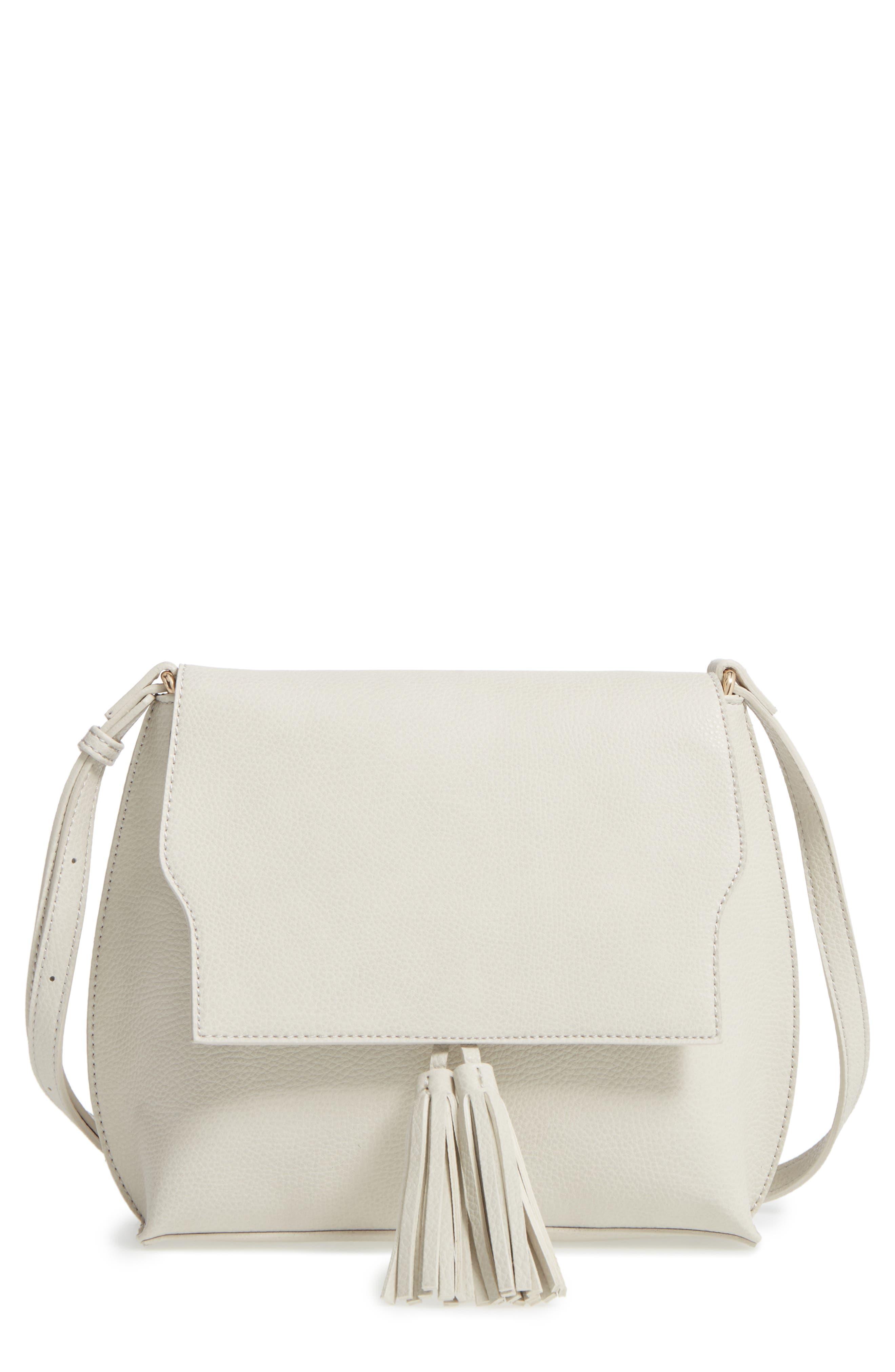 Sole Society Tassel Faux Leather Crossbody Bag