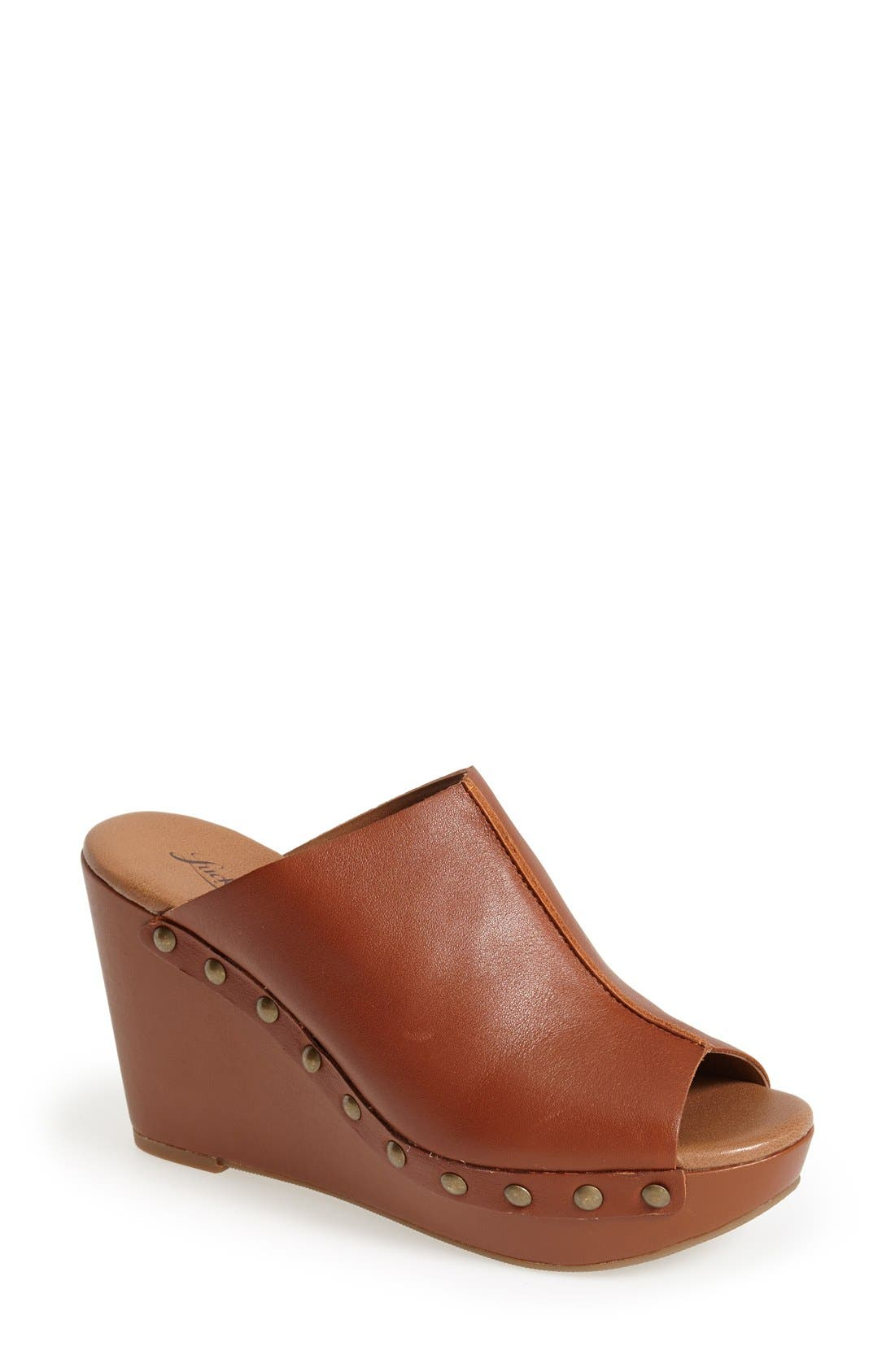 Alternate Image 1 Selected - Lucky Brand 'Lucky Malayah' Leather Wedge Sandal (Women)