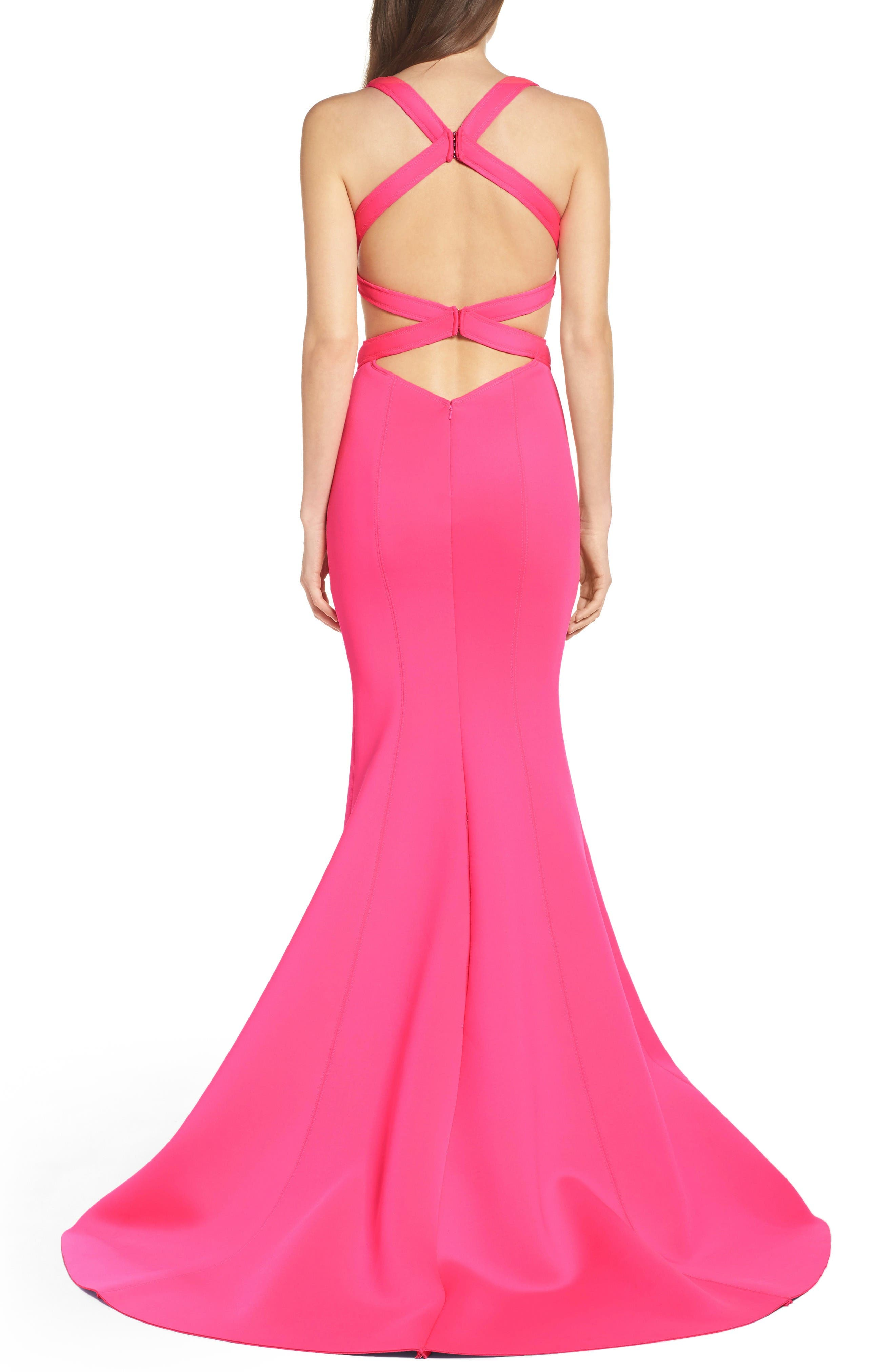 Alternate Image 2  - La Femme Neoprene Mermaid Gown