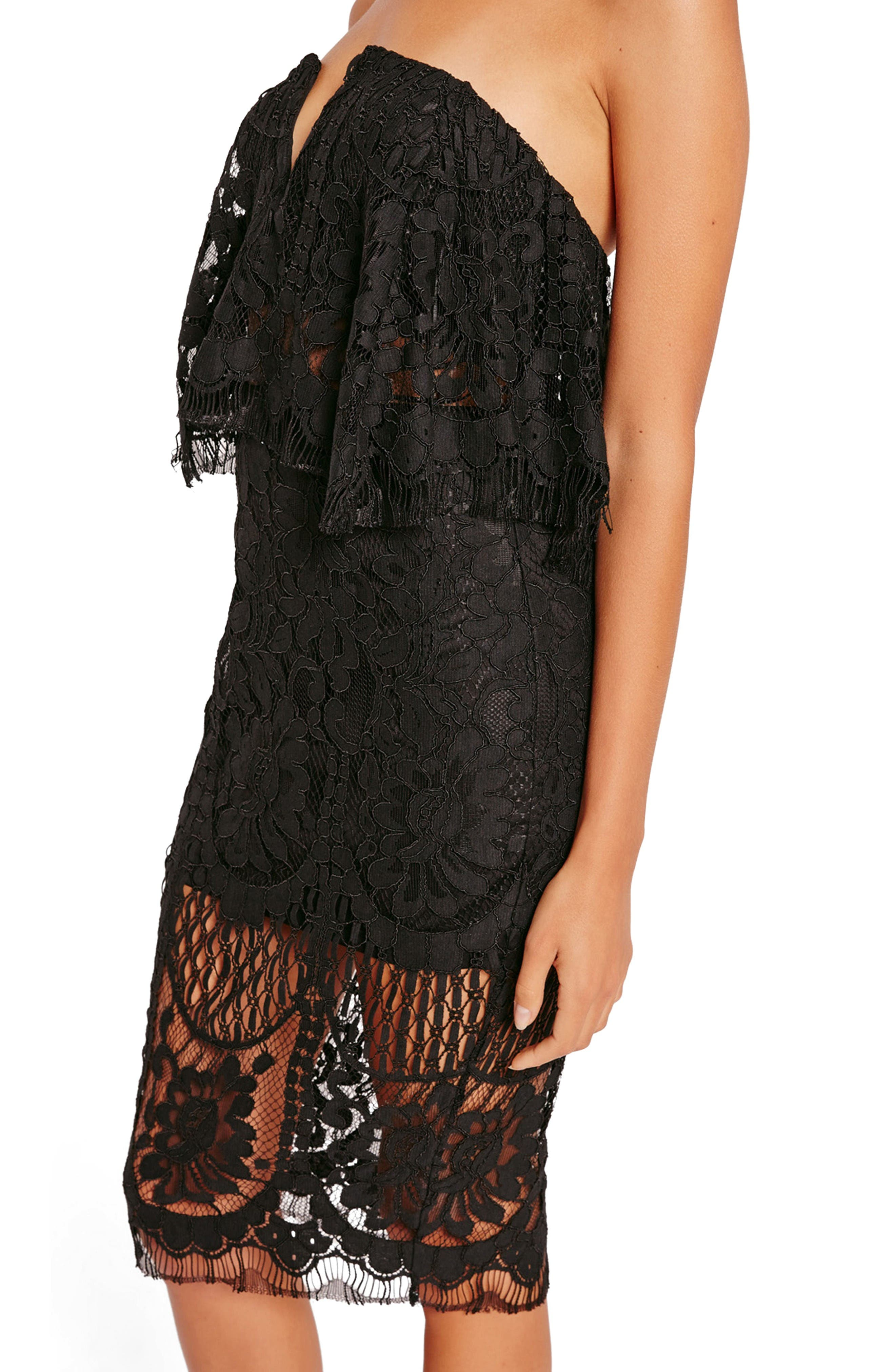 Alternate Image 4  - Missguided Strapless Lace Midi Dress