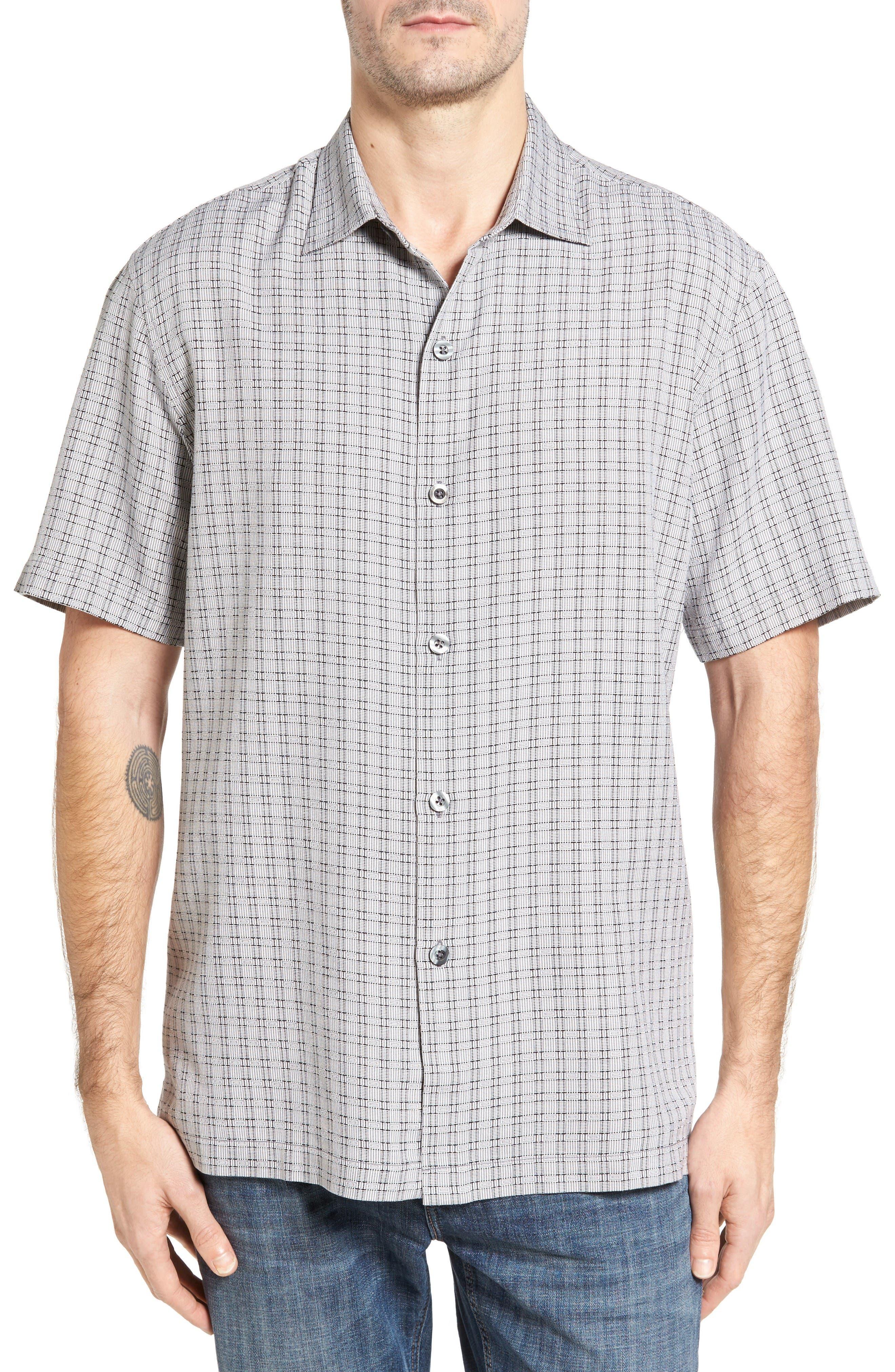 Tommy Bahama Geo Getaway Standard Fit Print Silk Camp Shirt