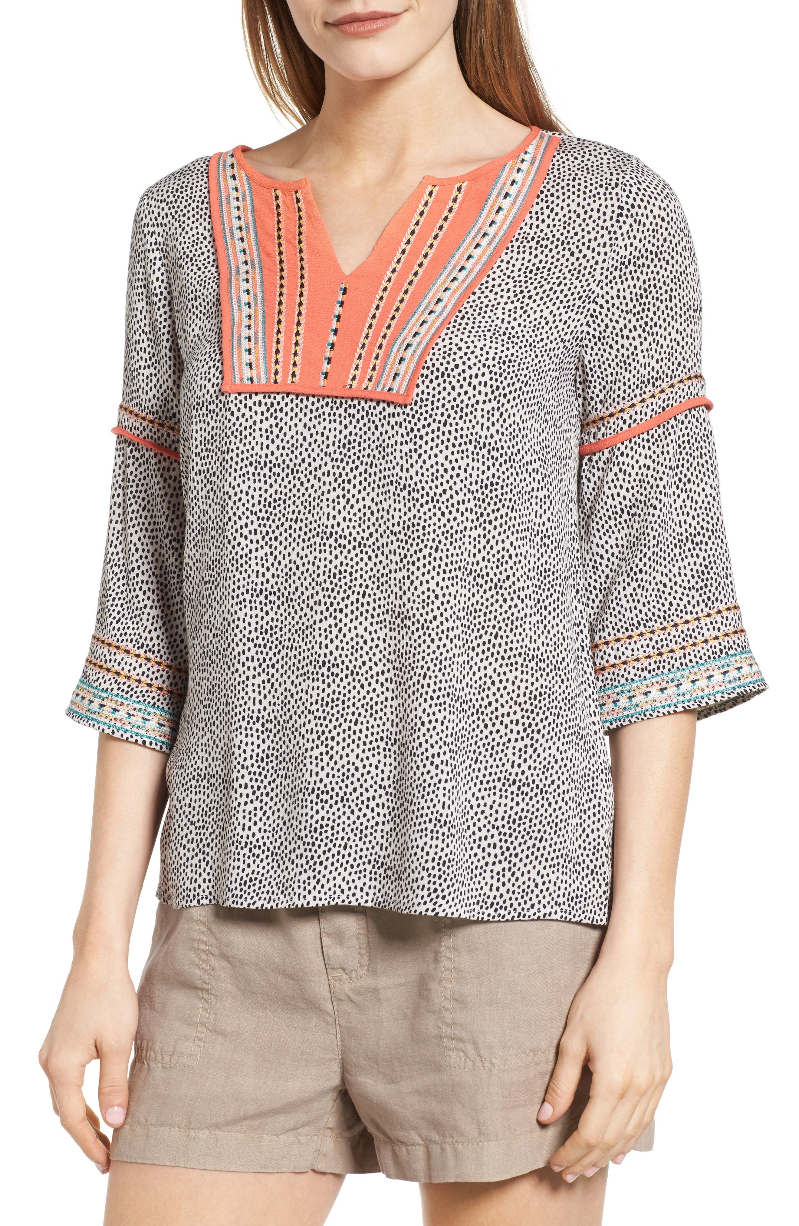 Alternate Image 1 Selected - THML Embroidered Bib Blouse