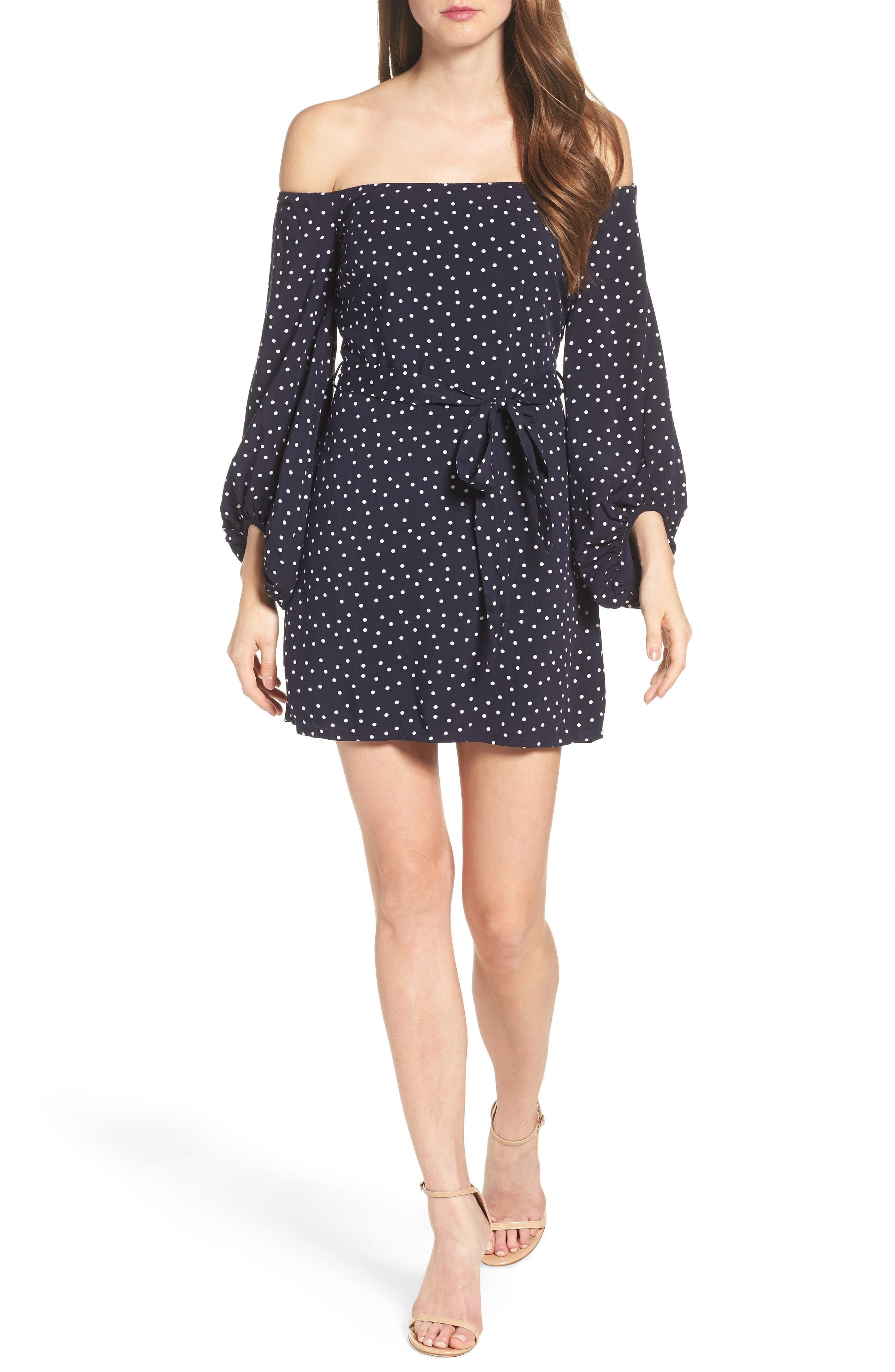 Alternate Image 4  - Bardot Polka Dot Off the Shoulder Dress