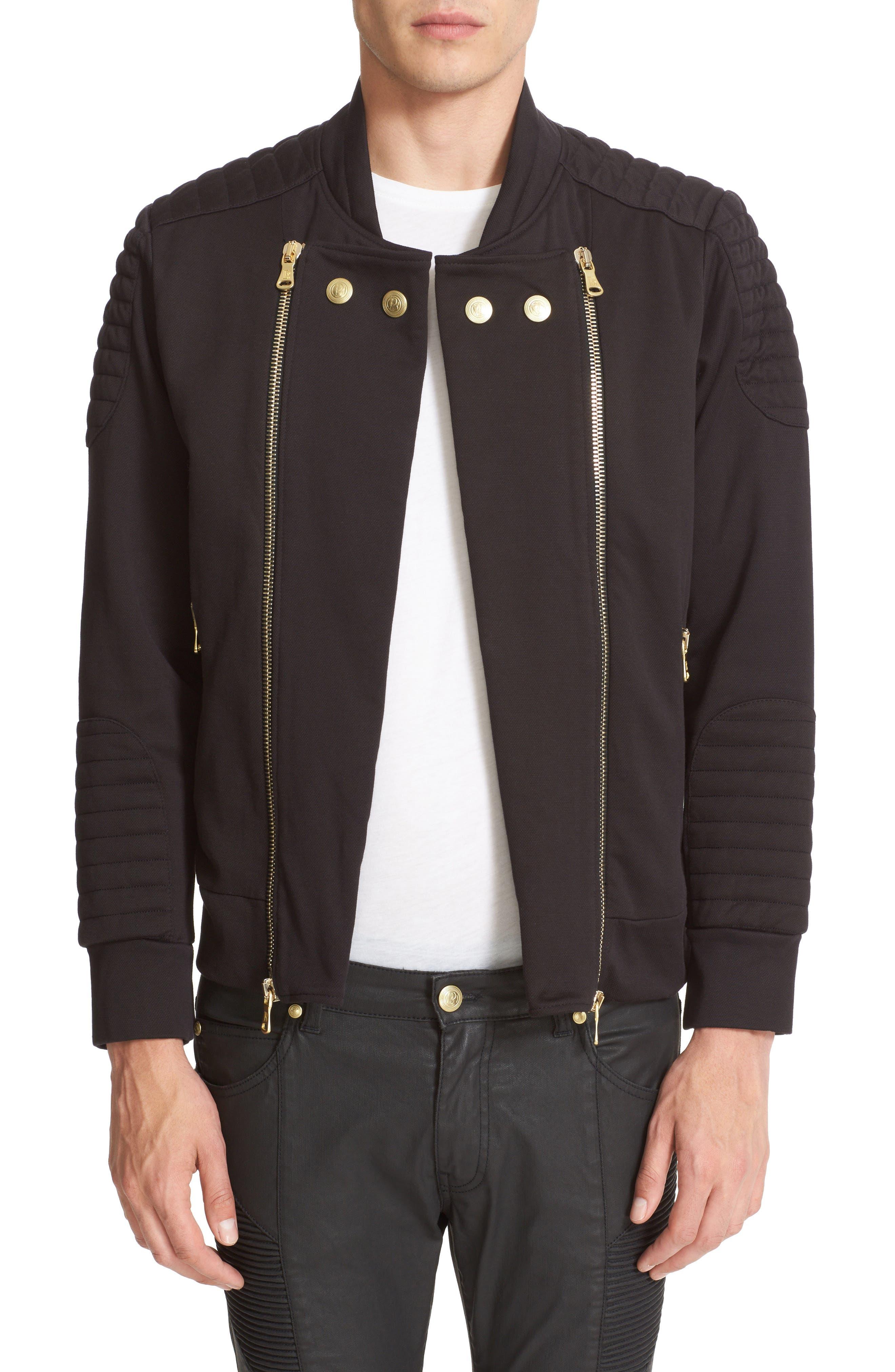 PIERRE BALMAIN Fleece Biker Jacket