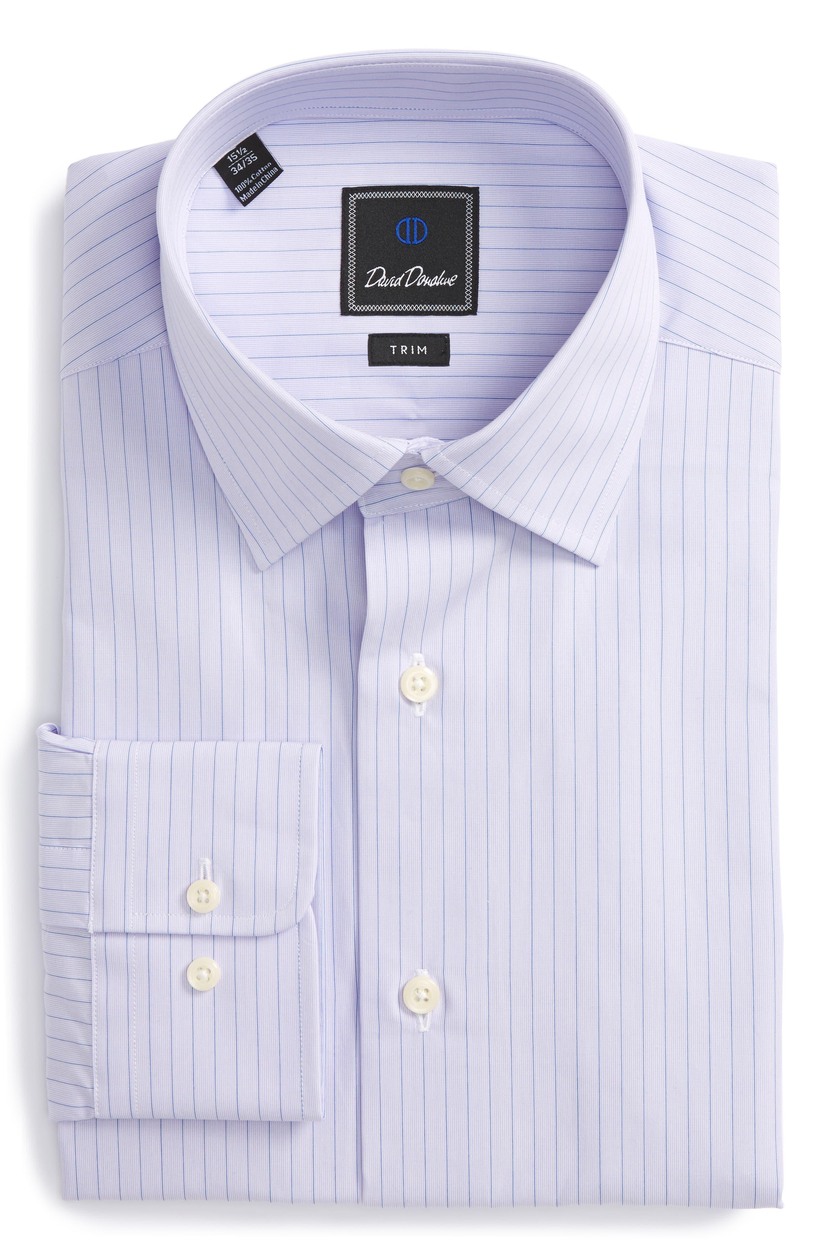 DAVID DONAHUE Trim Fit Stripe Dress Shirt