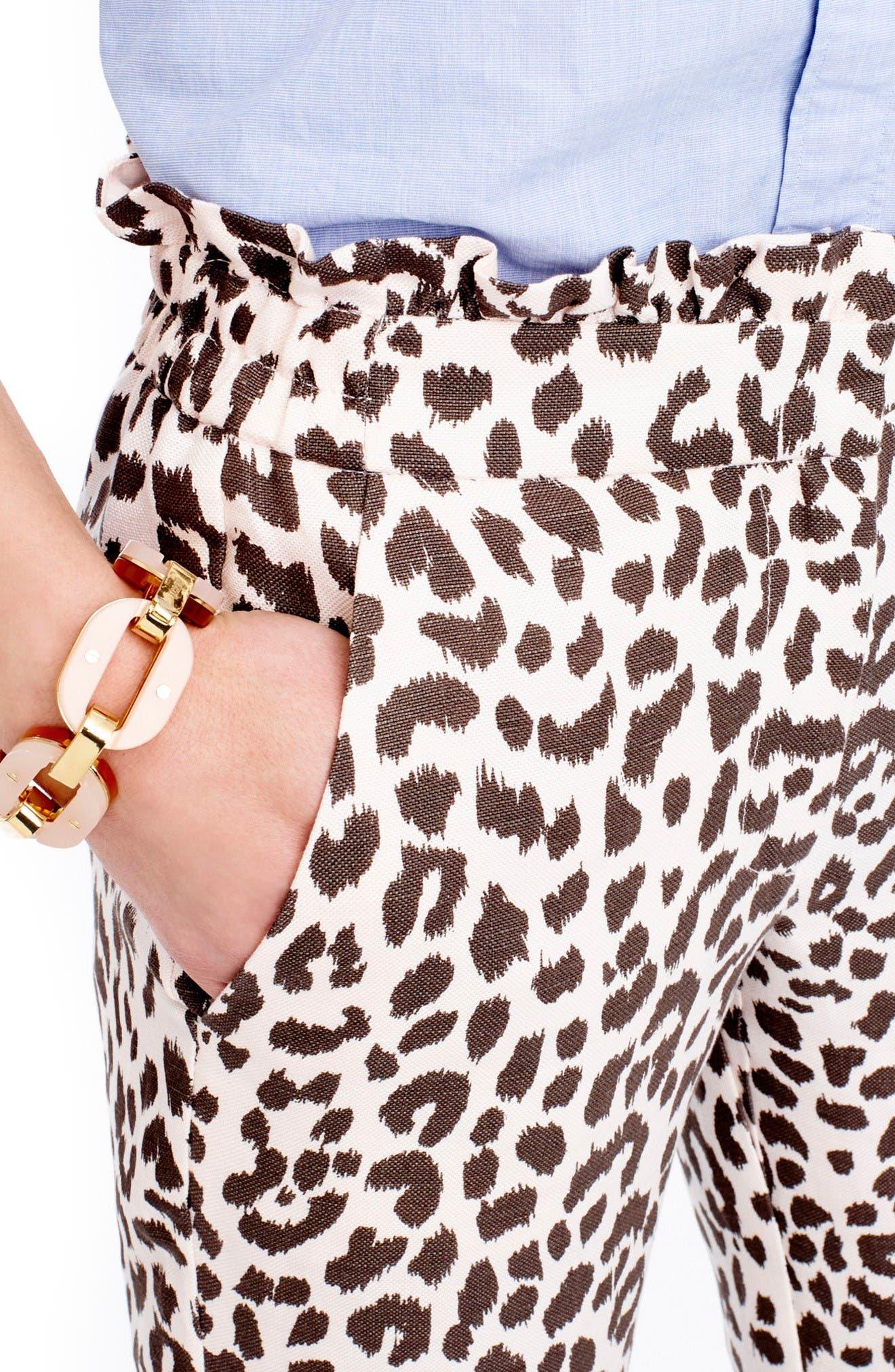 Alternate Image 3  - J.Crew Ruffle Waist Leopard Print Linen Pants (Regular & Petite)