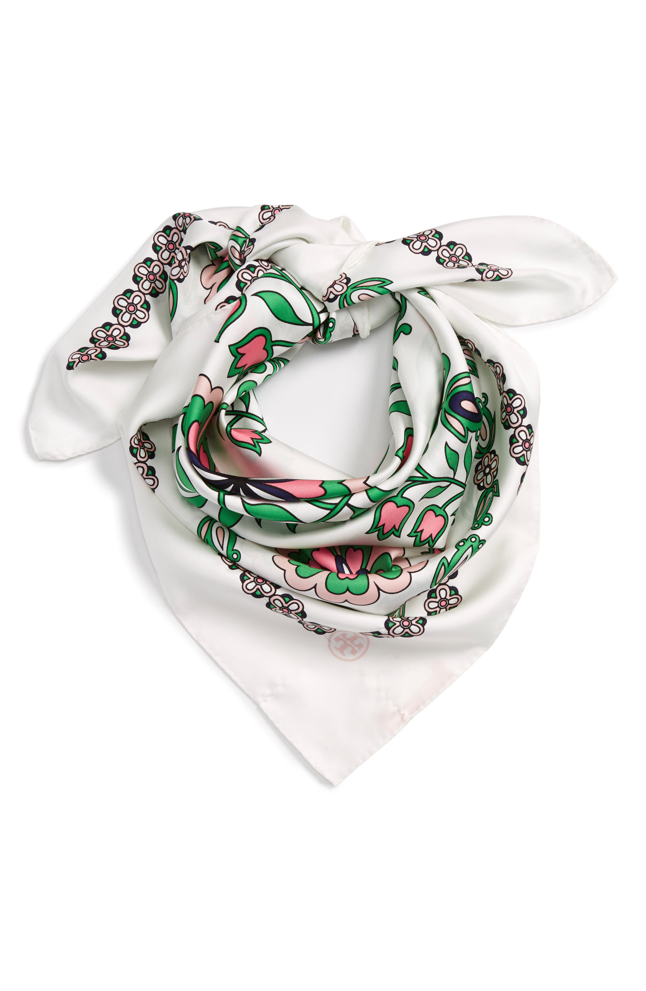 Main Image - Tory Burch Garden Party Square Silk Scarf