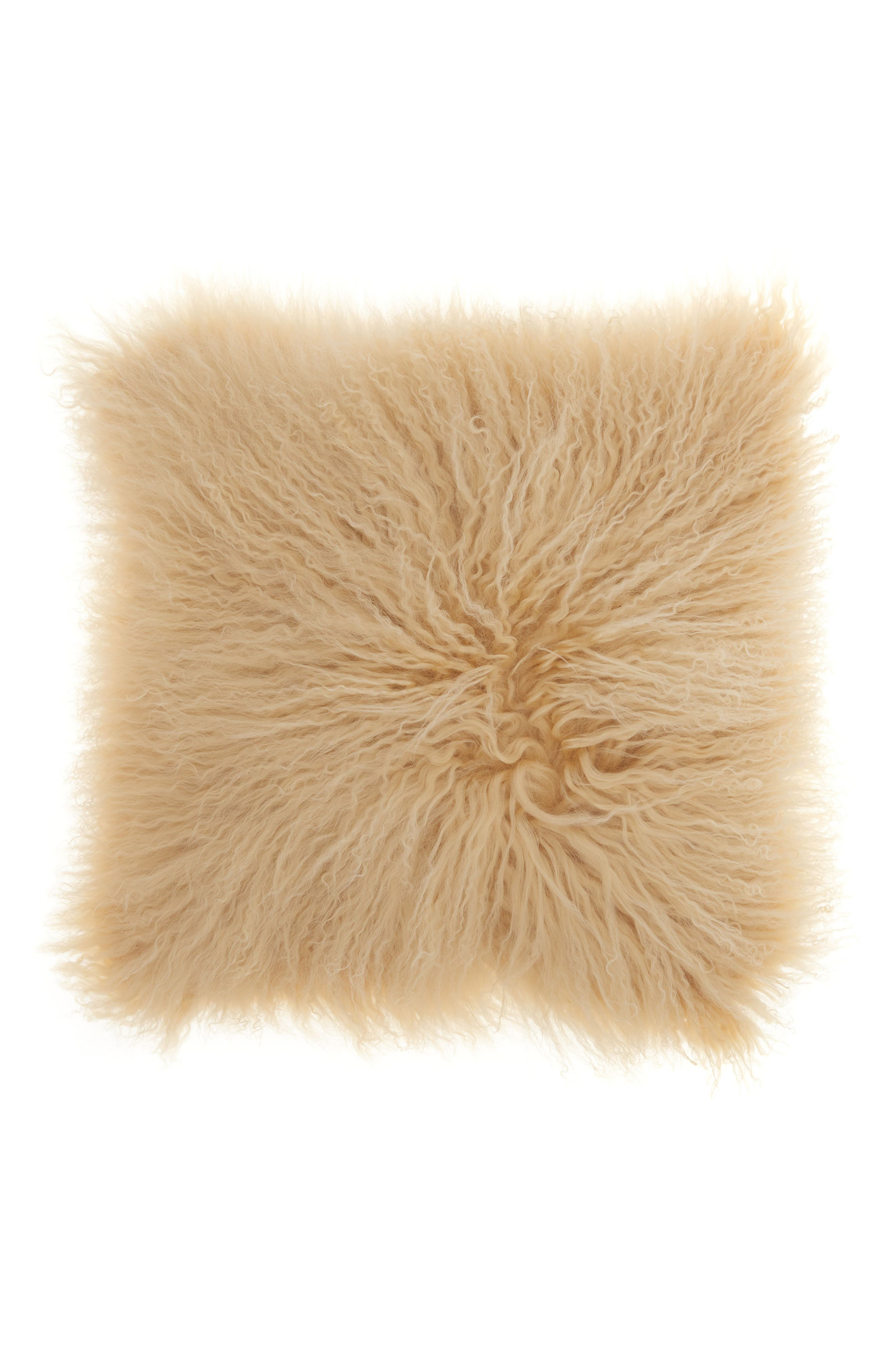 Main Image - Mina Victory Genuine Tibetan Wool Shearling Pillow