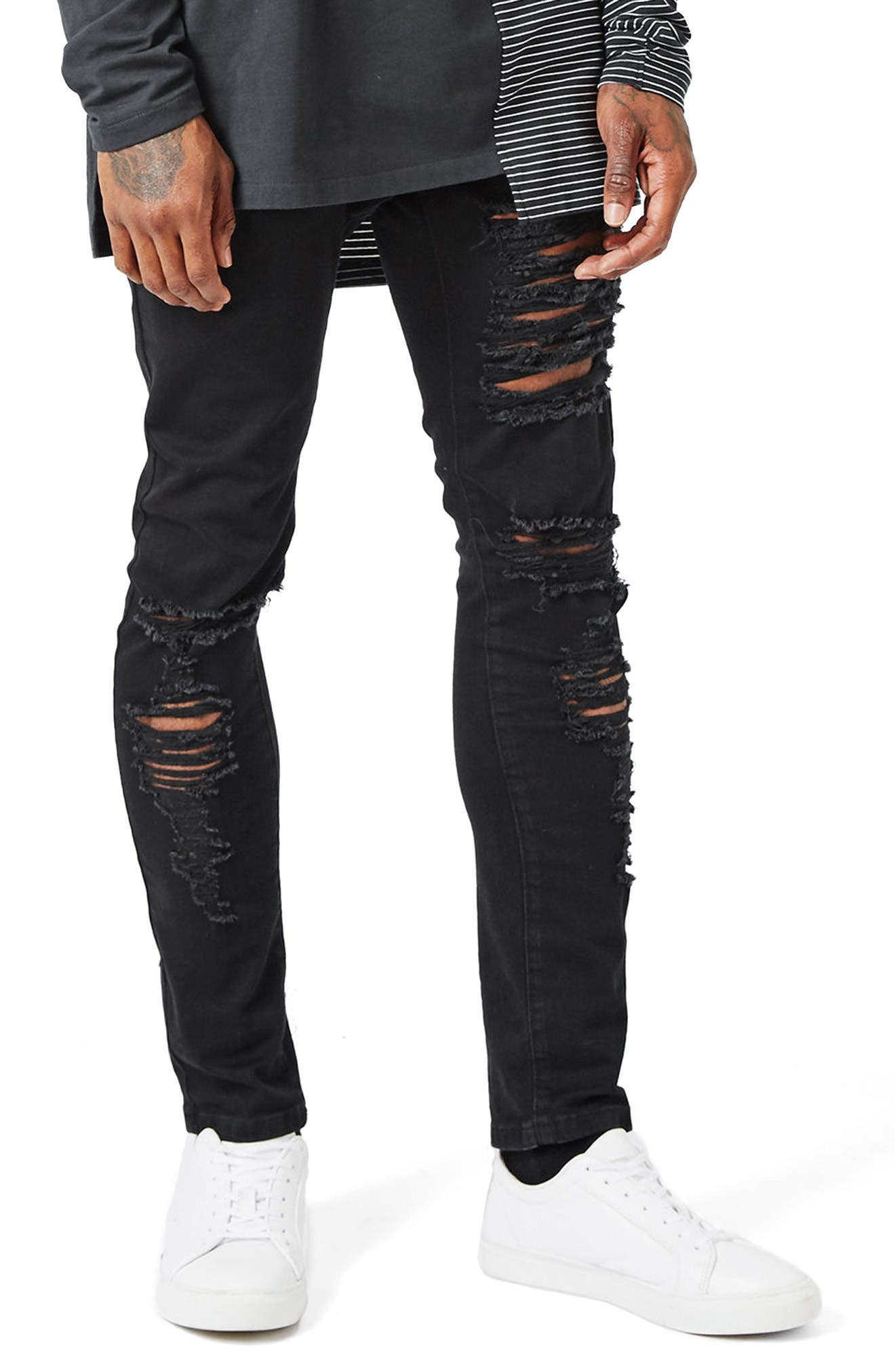 Alternate Image 1 Selected - Topman AAA Collection Ripped Stretch Skinny Jeans