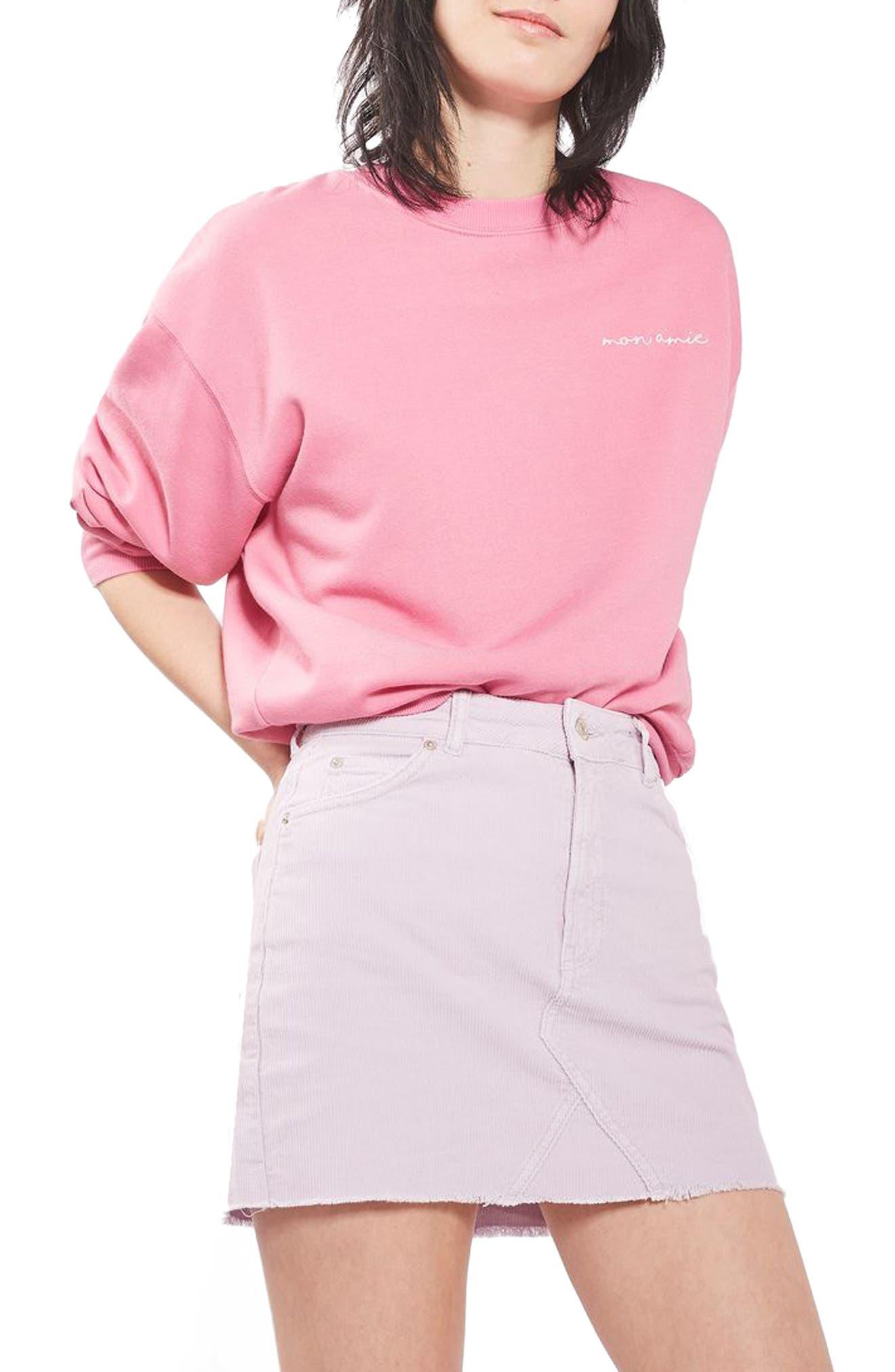 Main Image - Topshop High Rise Corduroy Miniskirt