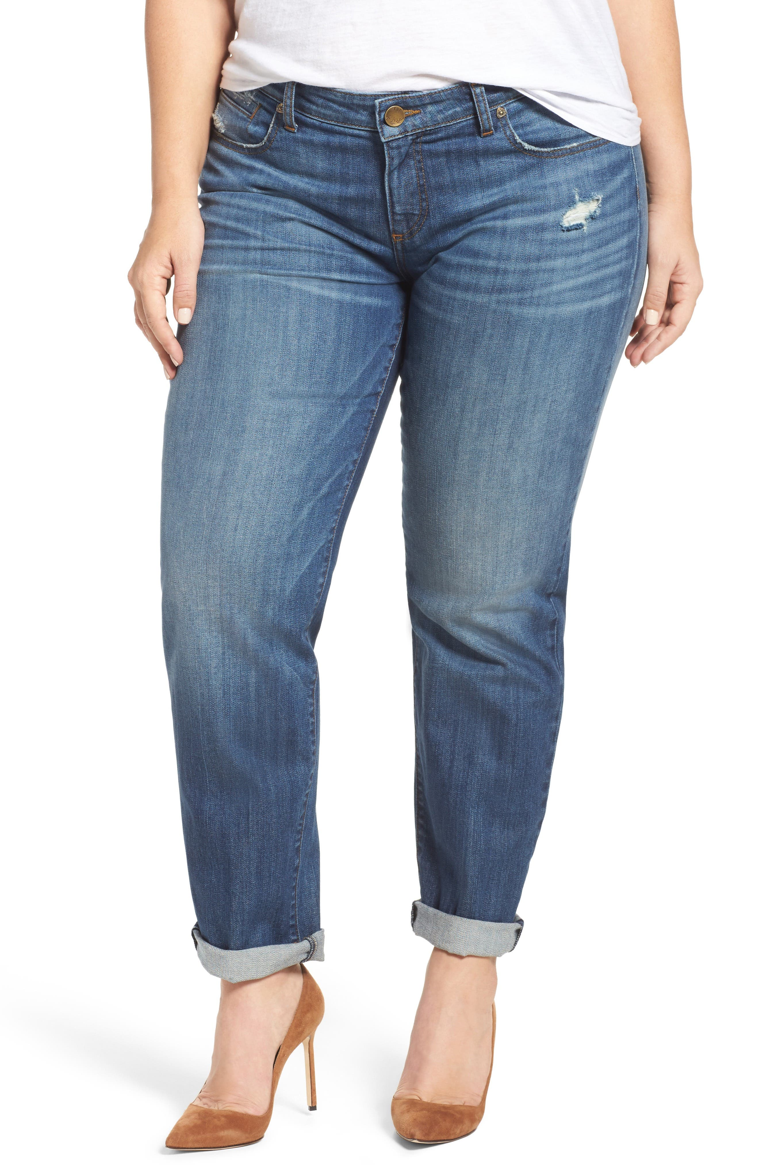 Alternate Image 1 Selected - KUT from the Kloth Catherine Boyfriend Jeans (Doubtless) (Plus Size)