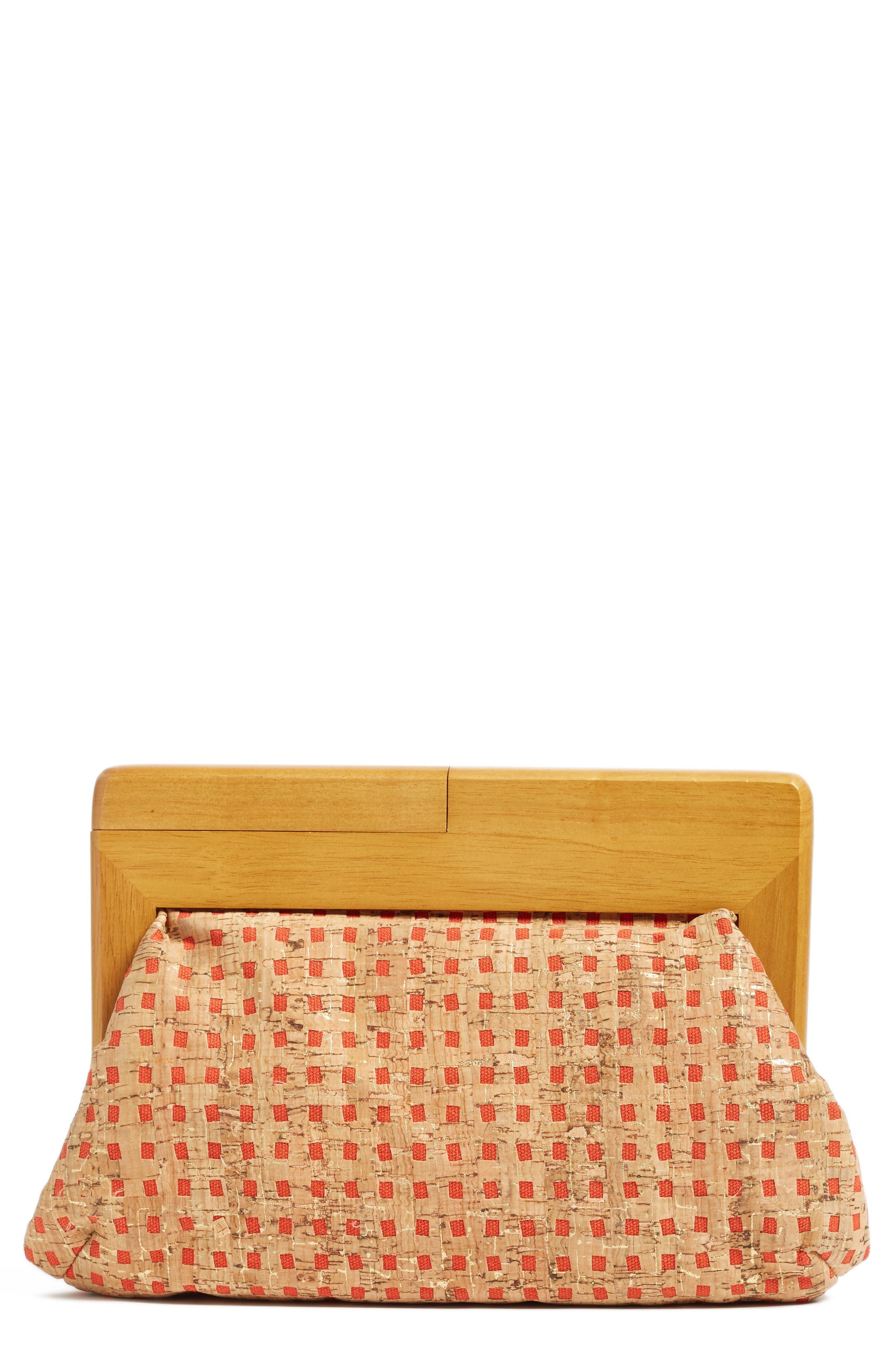 Alternate Image 1 Selected - Sondra Roberts Wood Frame Raffia Clutch