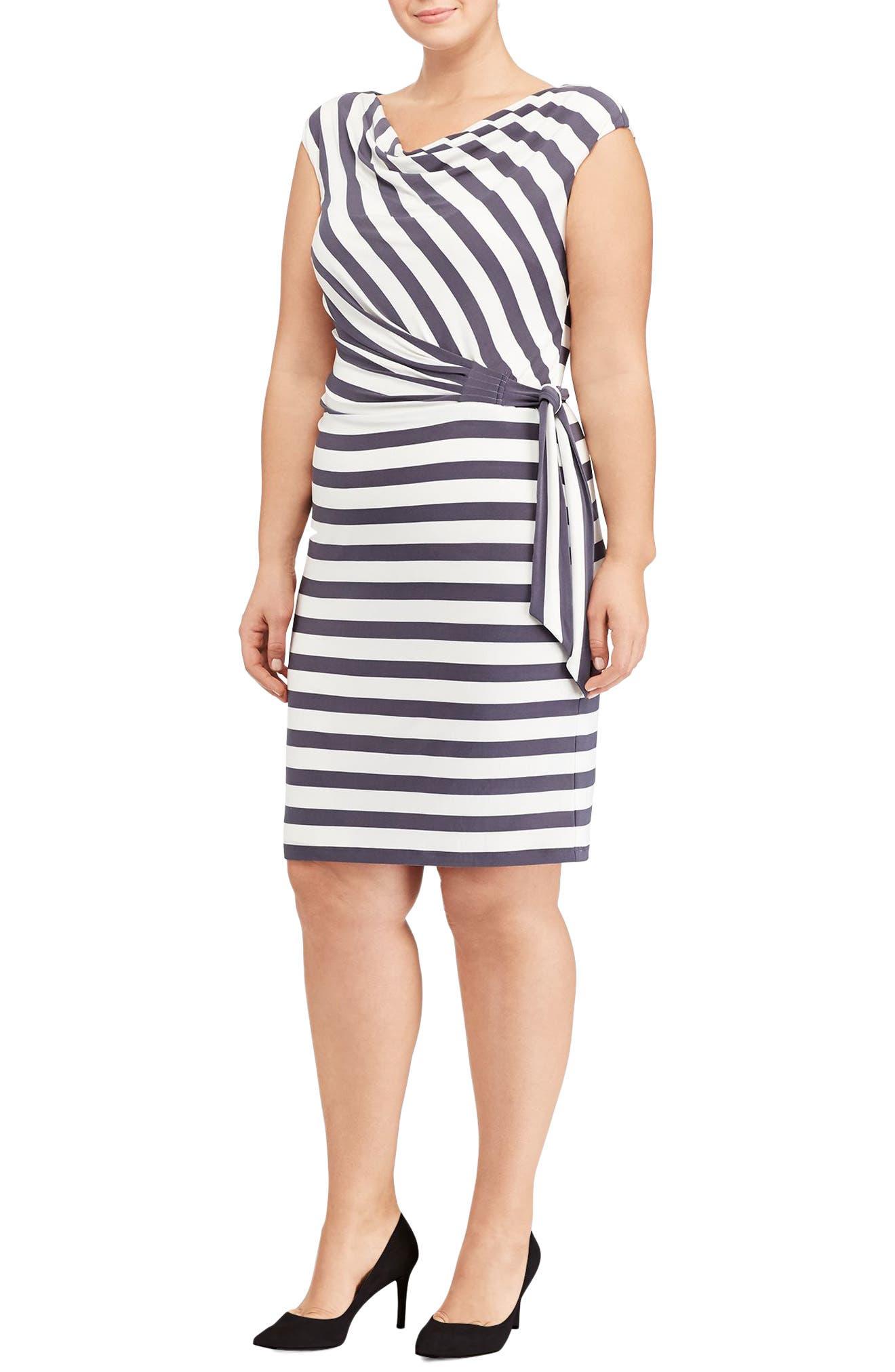Lauren Ralph Lauren Jersey Tie Waist Sheath Dress (Plus Size)