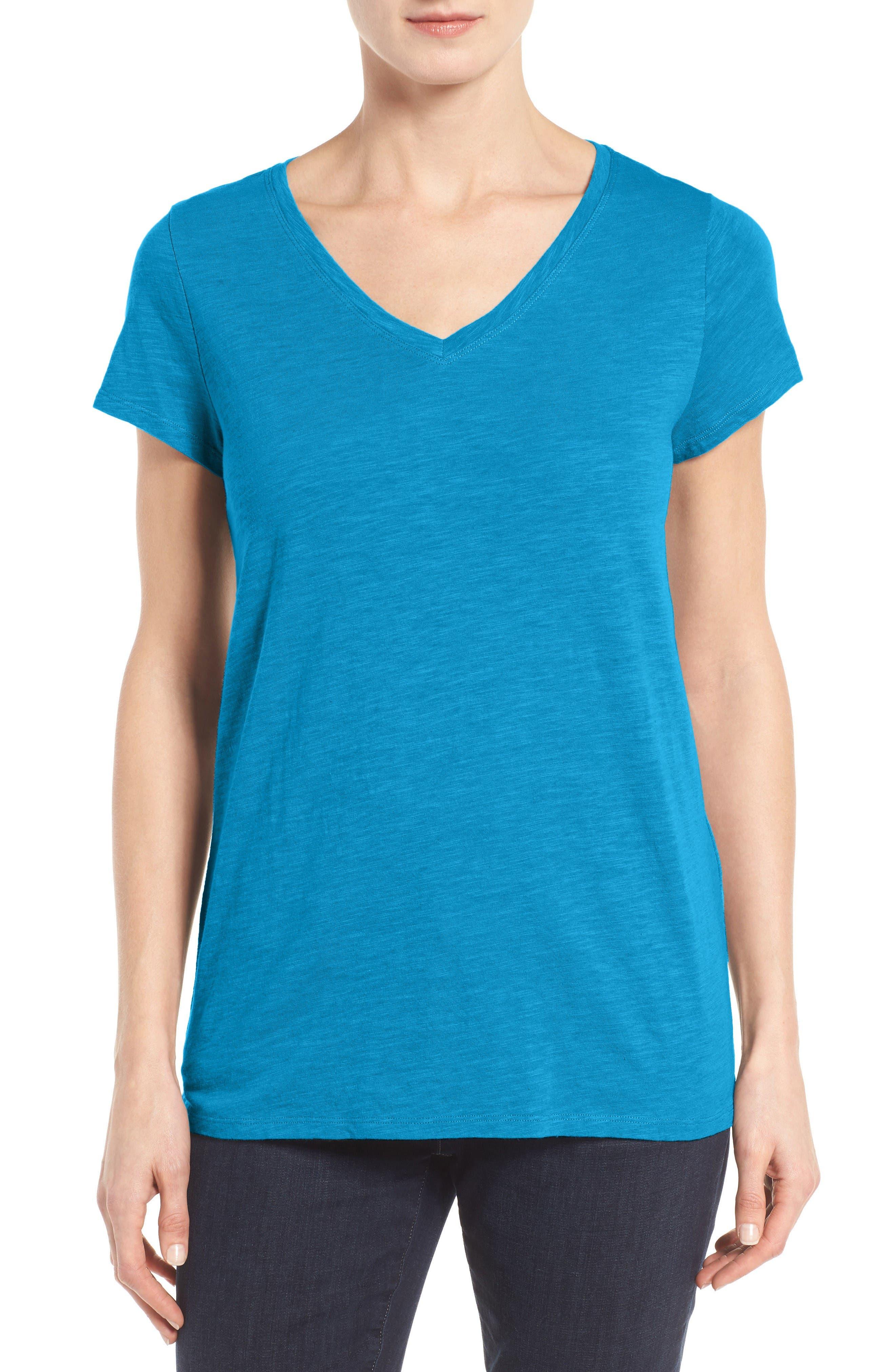 Eileen Fisher Organic Cotton V-Neck Tee (Regular & Petite) (Nordstrom Exclusive)