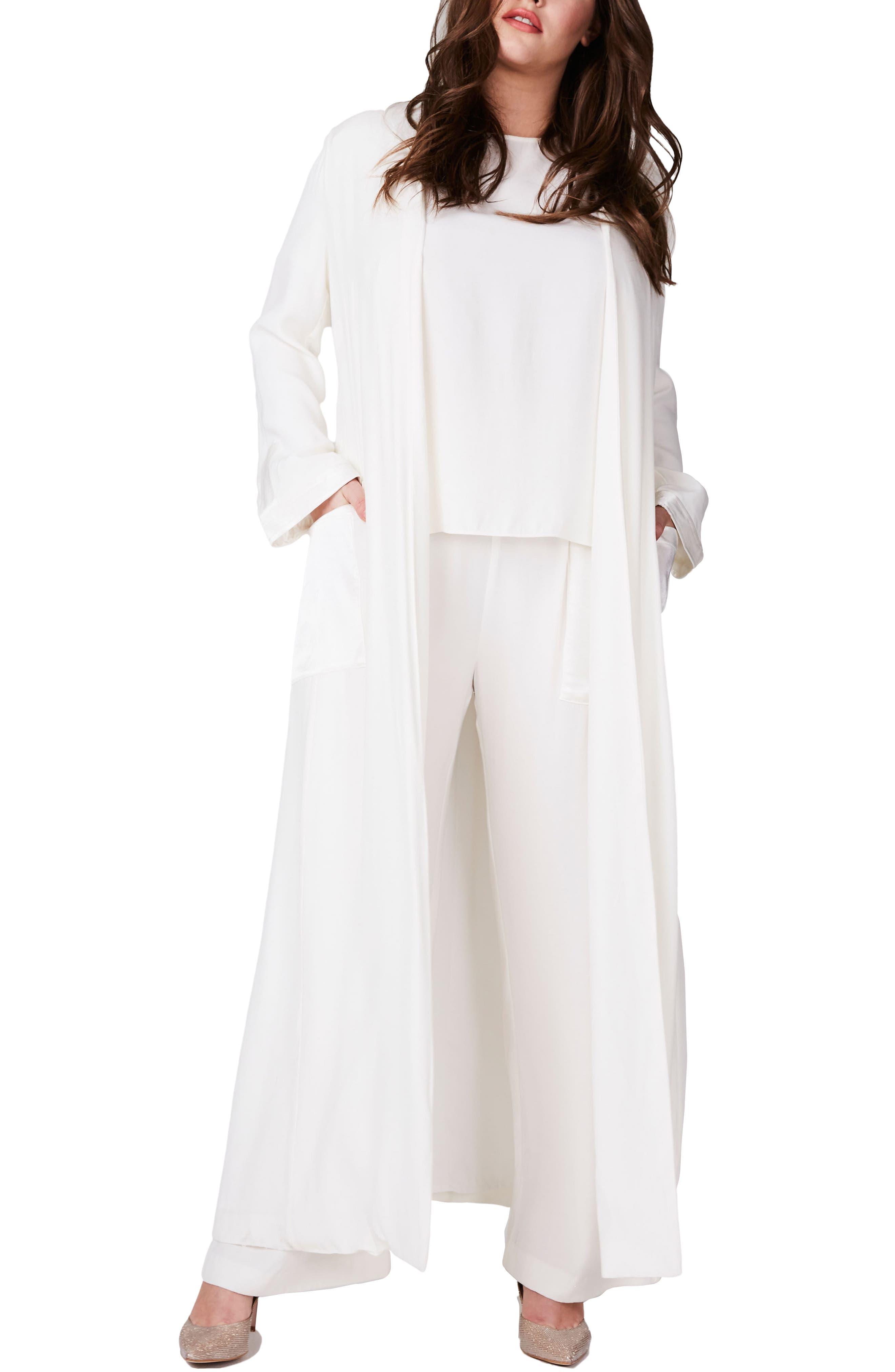 ELVI Open Front Long Coat (Plus Size)