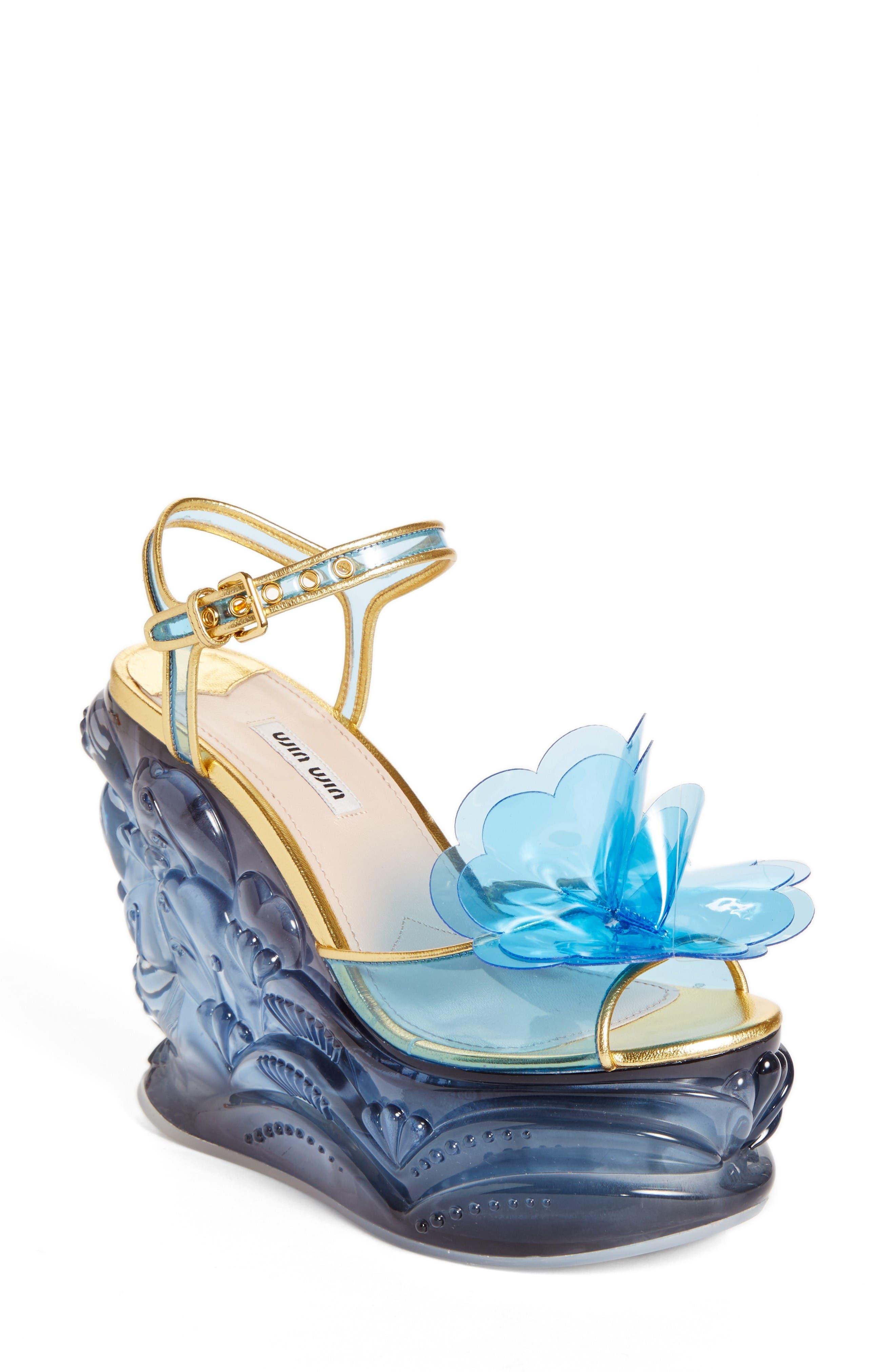 Main Image - Miu Miu Wedge Sandal (Women)
