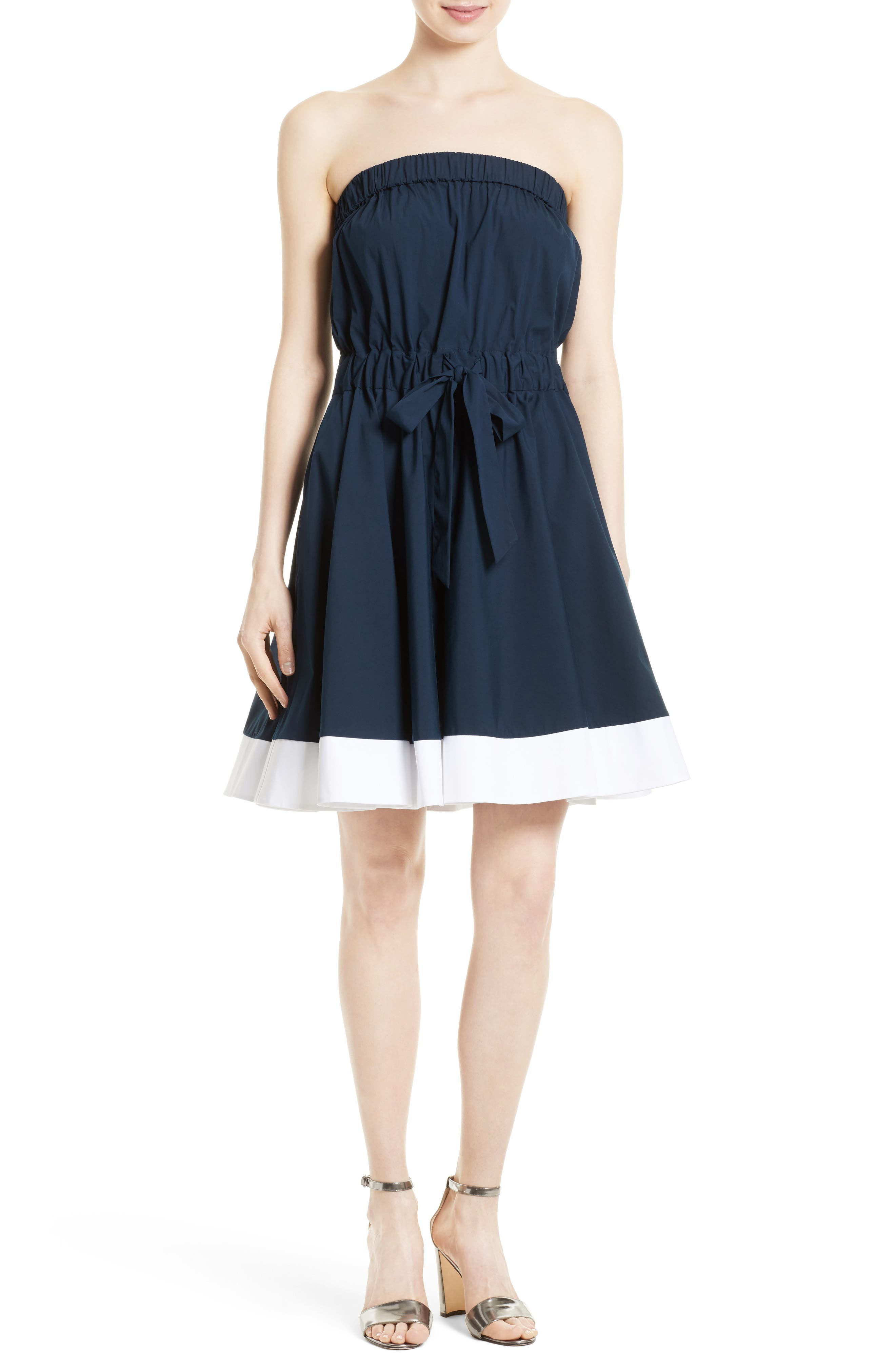 Milly Ariel Poplin Strapless Fit & Flare Dress