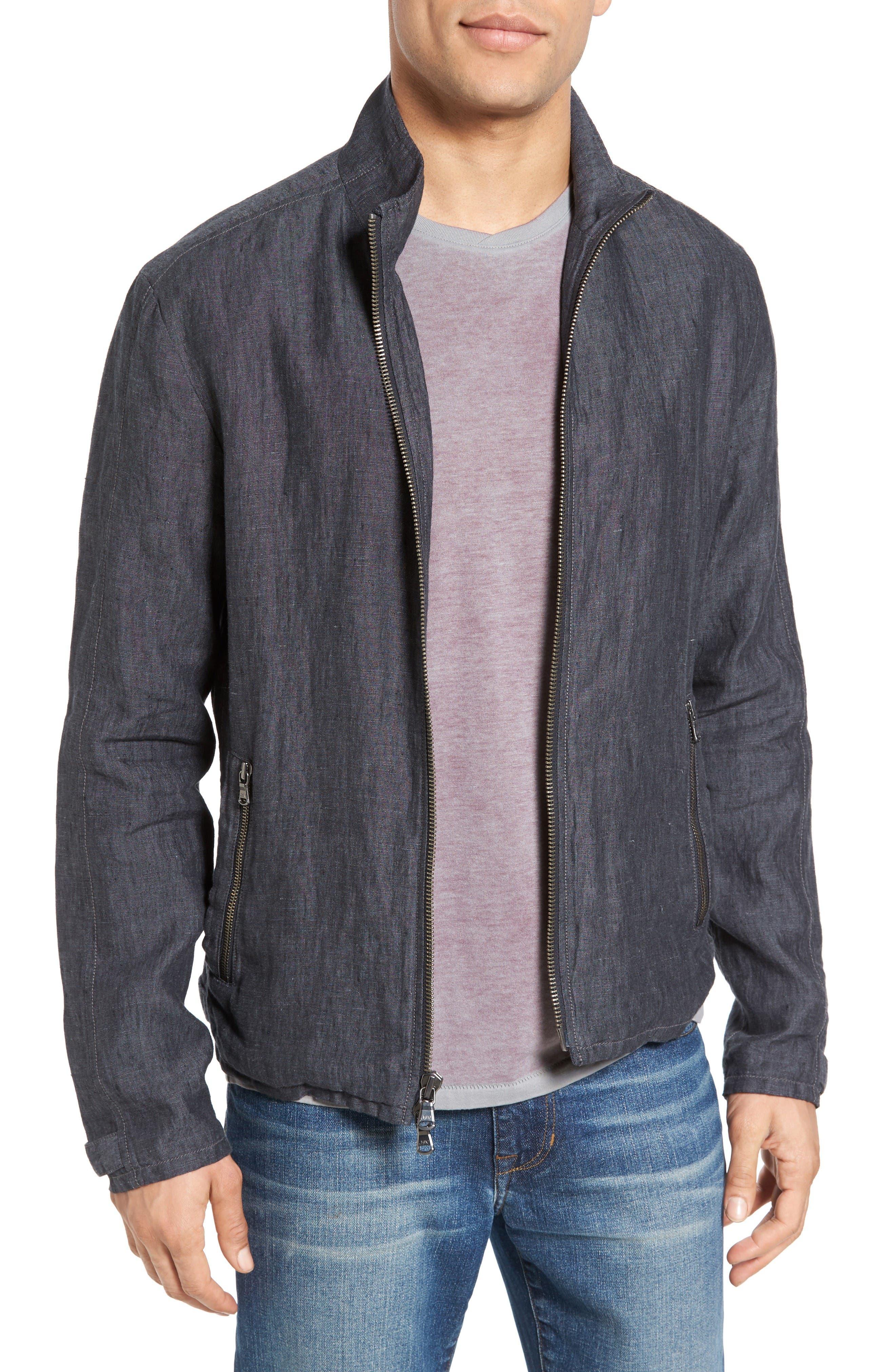 John Varvatos Star USA Zip Front Linen Jacket