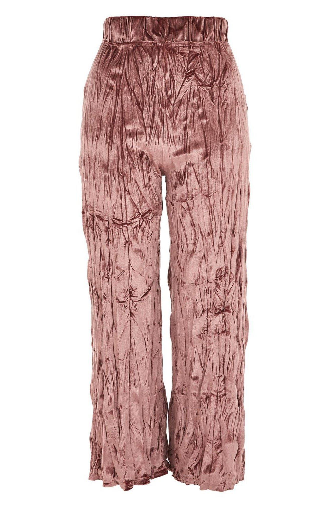 Alternate Image 4  - Topshop Crushed Velvet Trousers