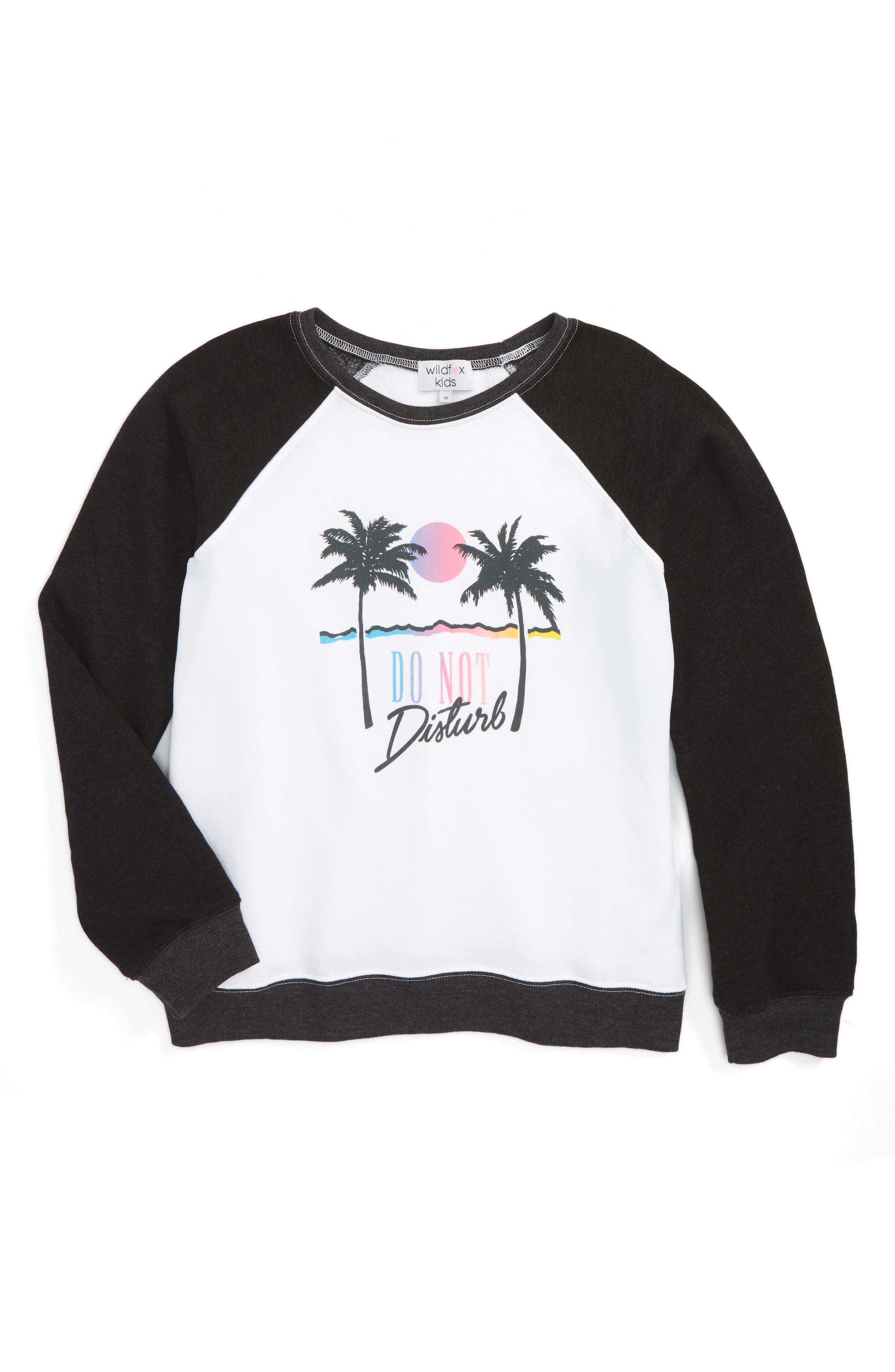 Alternate Image 1 Selected - Wildfox Do Not Disturb Graphic Sweatshirt (Big Girls)