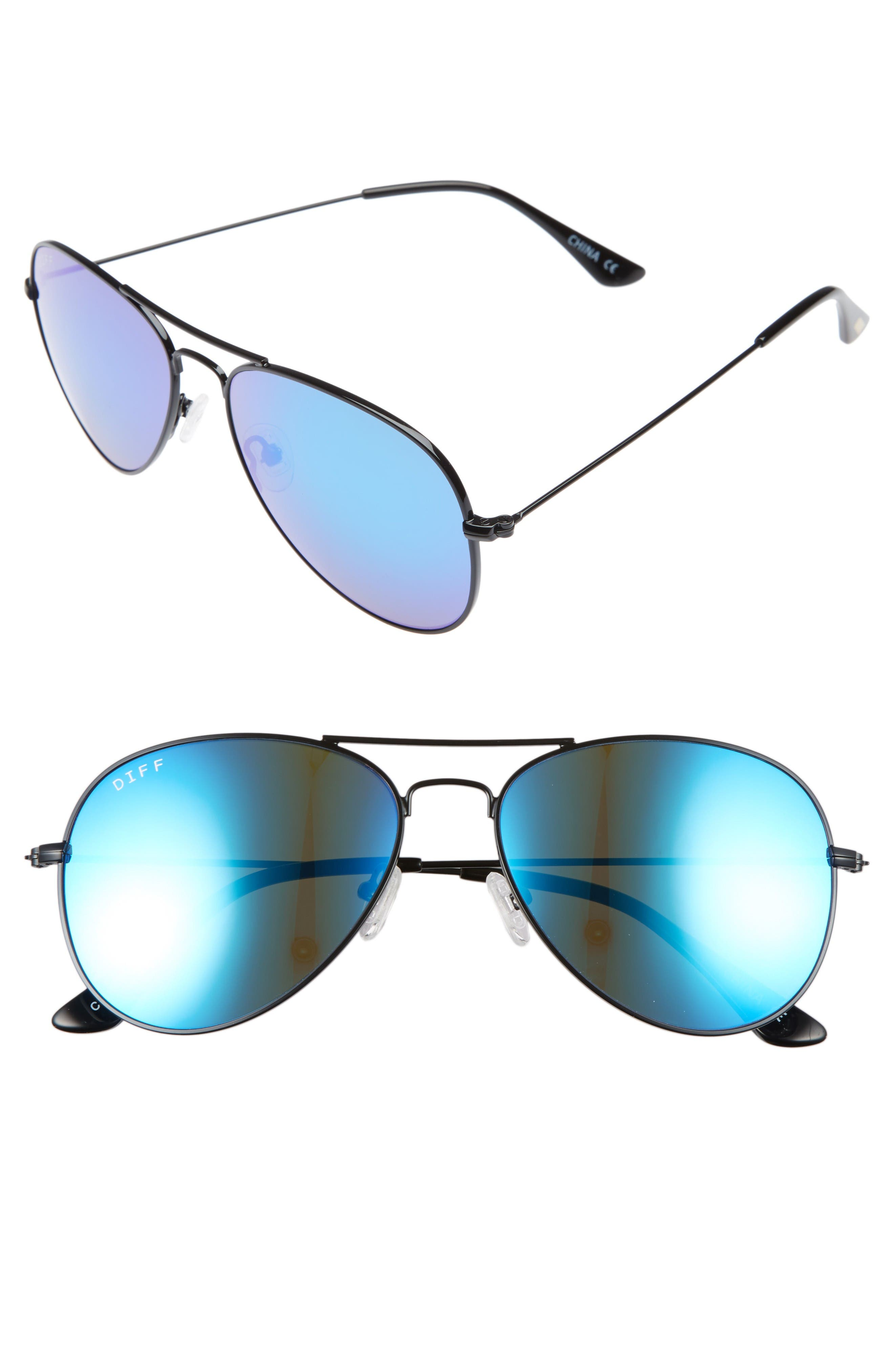 DIFF Cruz 57mm Mirrored Teardrop Aviator Sunglasses
