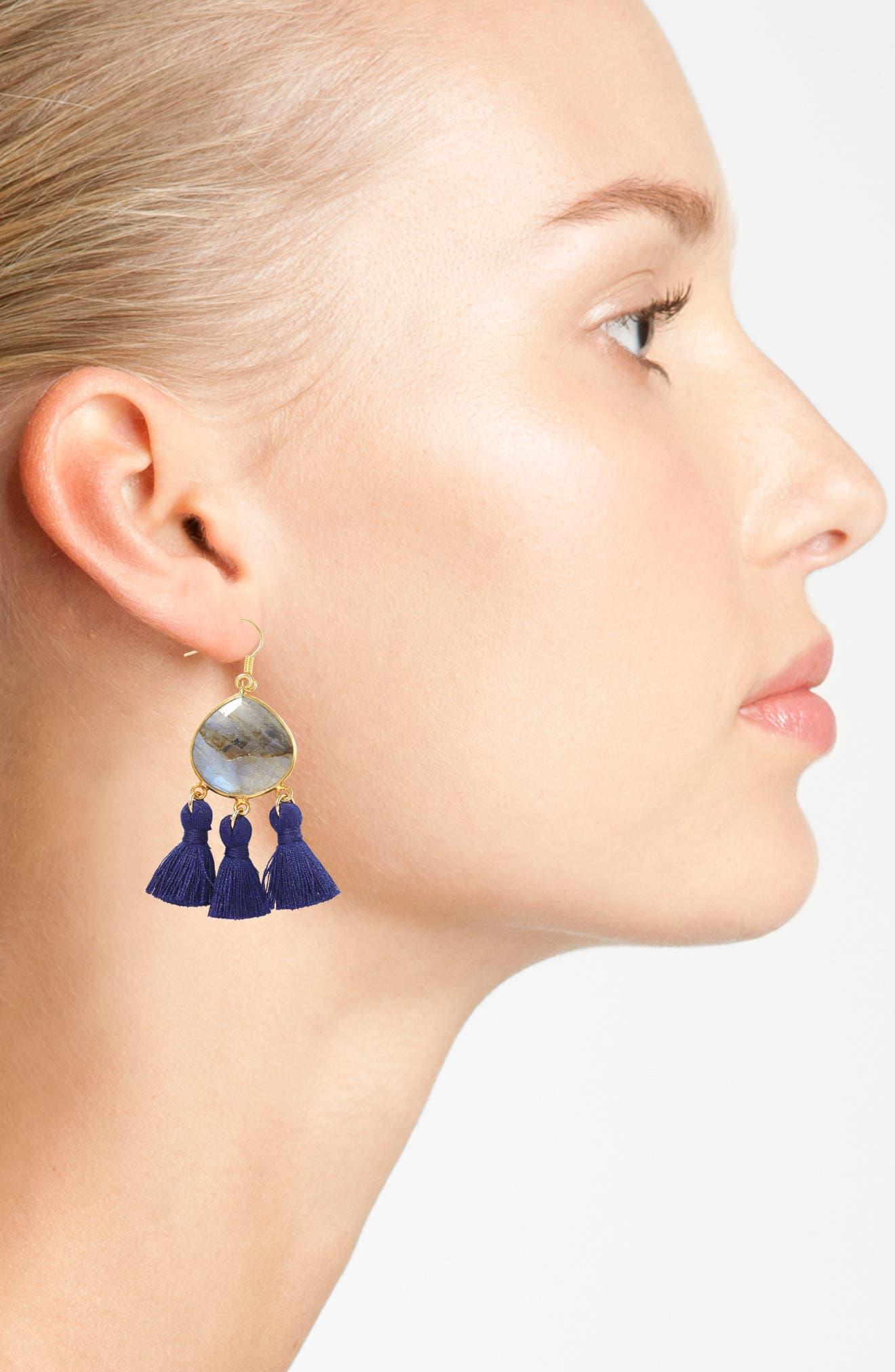 Alternate Image 2  - Love's Affect Lacey Semiprecious Stone Tassel Earrings