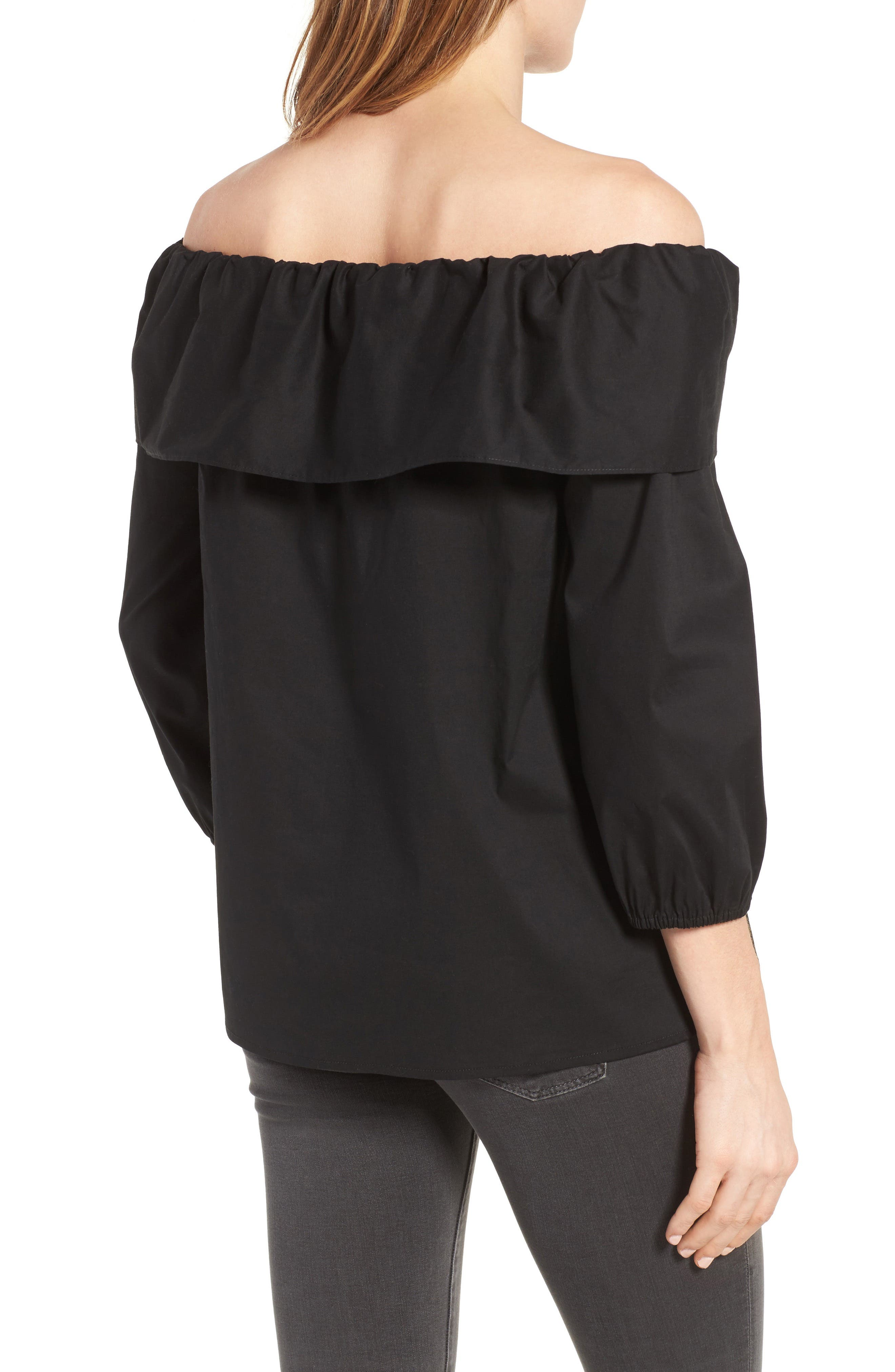 Alternate Image 2  - Pleione Bow Front Off the Shoulder Top (Regular & Petite)