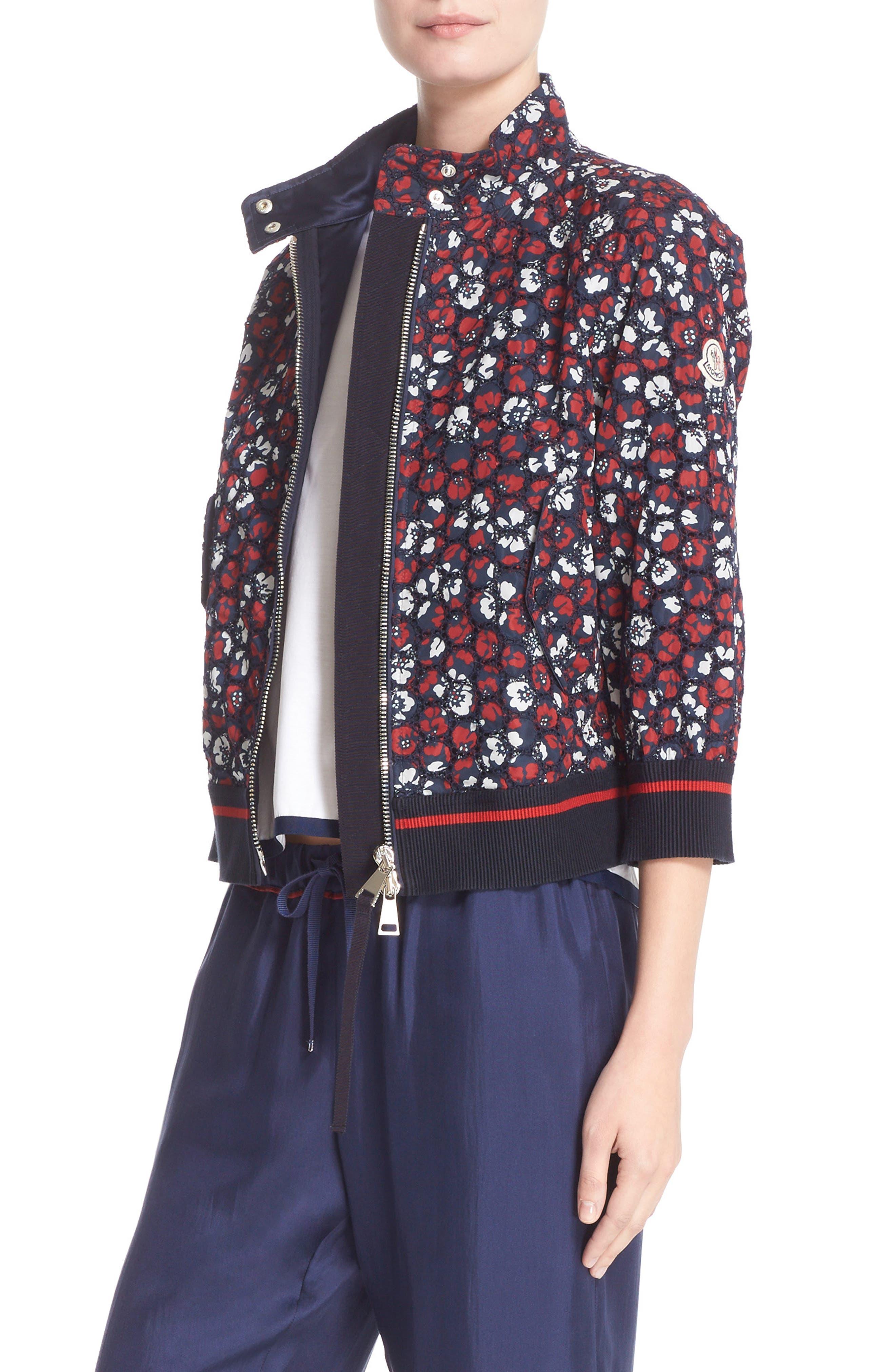 Alternate Image 1 Selected - Moncler Fiadone Floral Eyelet Jacket