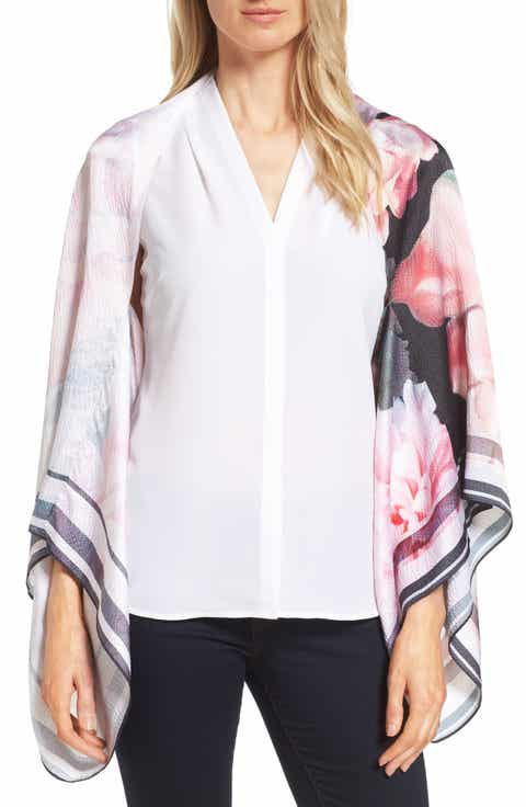 Ted Baker London Painted Posie Silk Cape Scarf