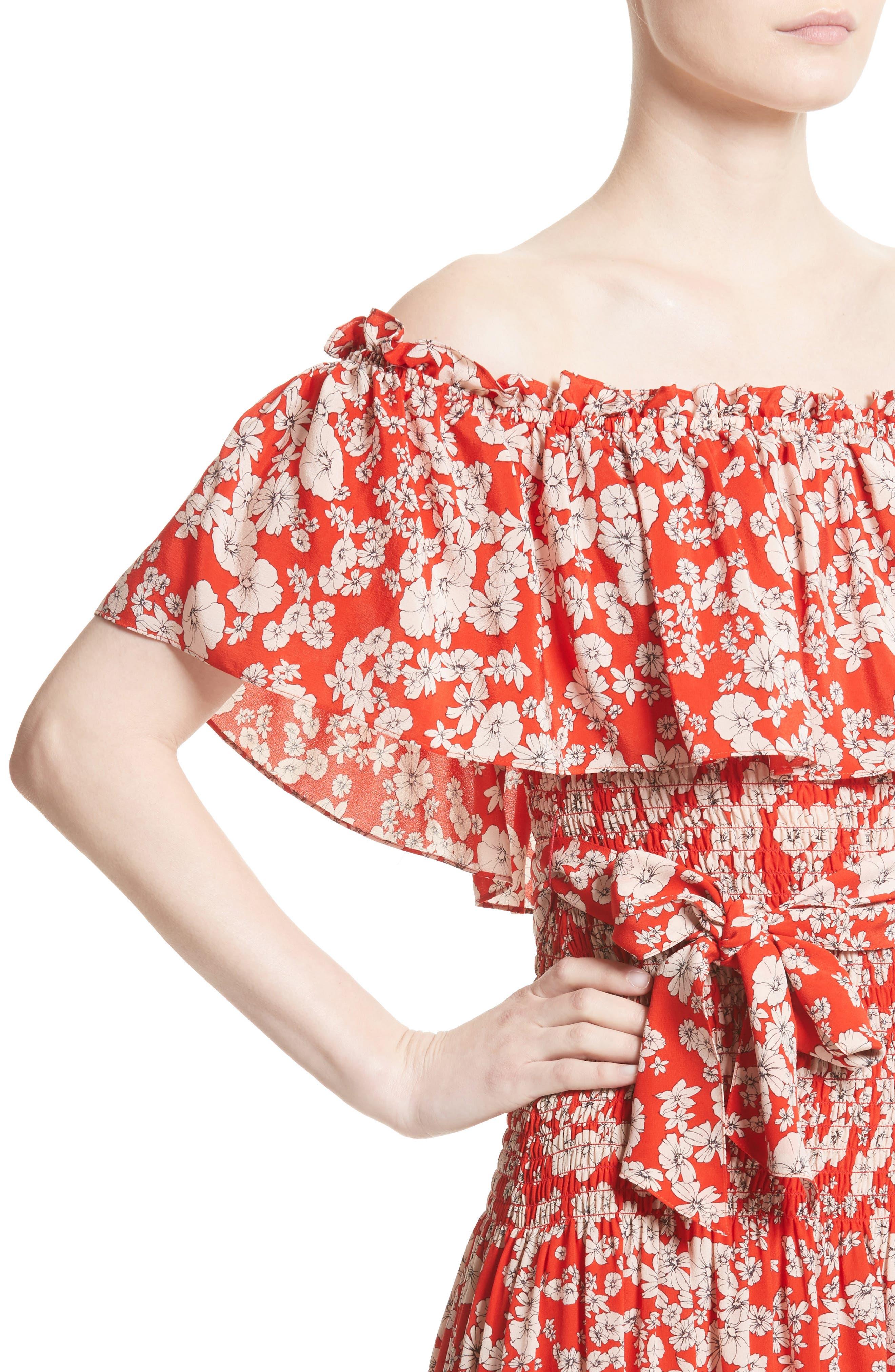 Alternate Image 4  - Rebecca Taylor Cherry Blossom Silk Off the Shoulder Dress
