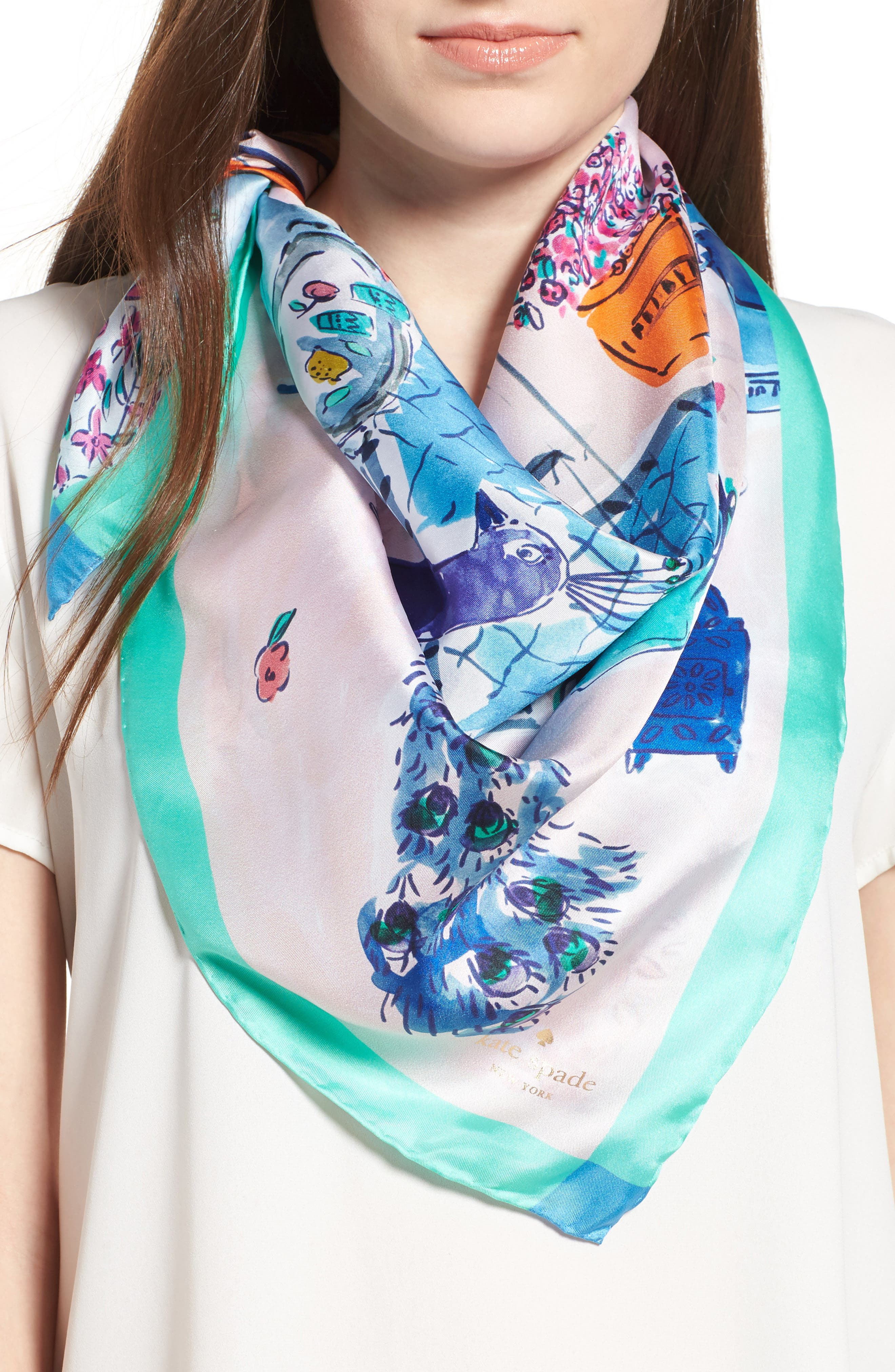 kate spade new york majorelle scene silk square scarf