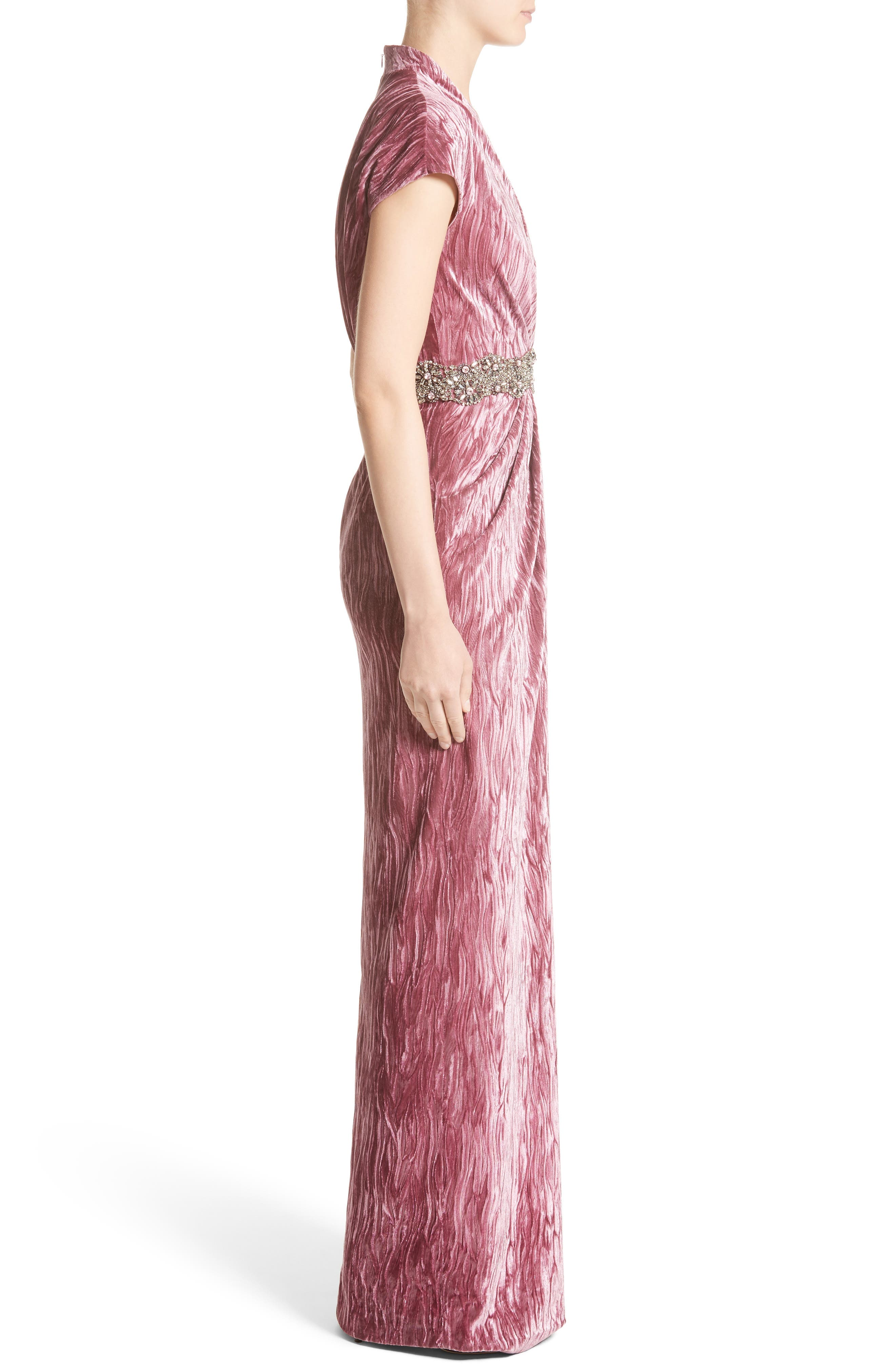 Alternate Image 4  - Badgley Mischka Couture Beaded Belt Faux Wrap Gown (Nordstrom Exclusive)