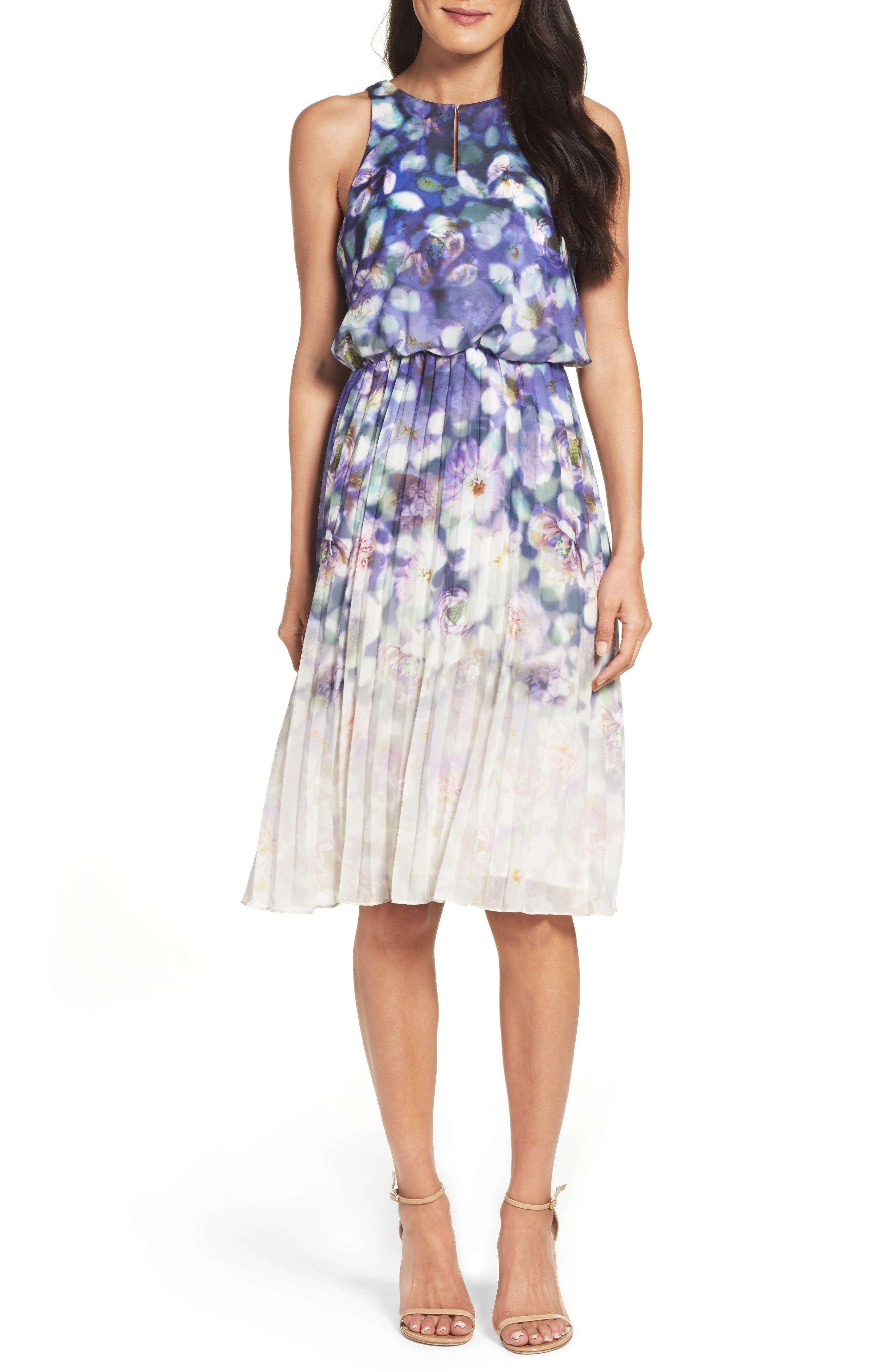 Adrianna Papell Fading Splendor Blouson Dress