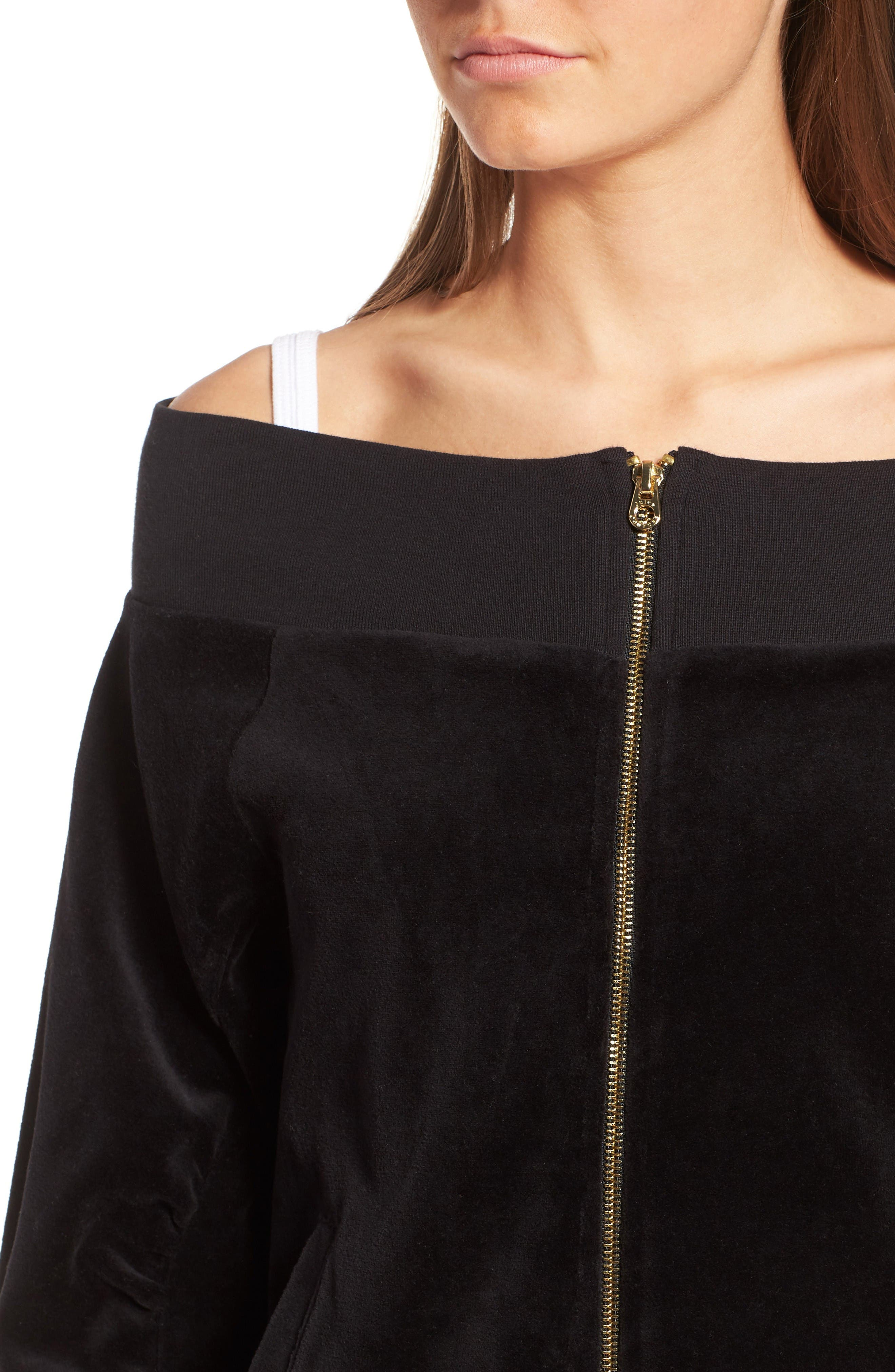 Alternate Image 4  - Juicy Couture Off the Shoulder Velour Track Jacket