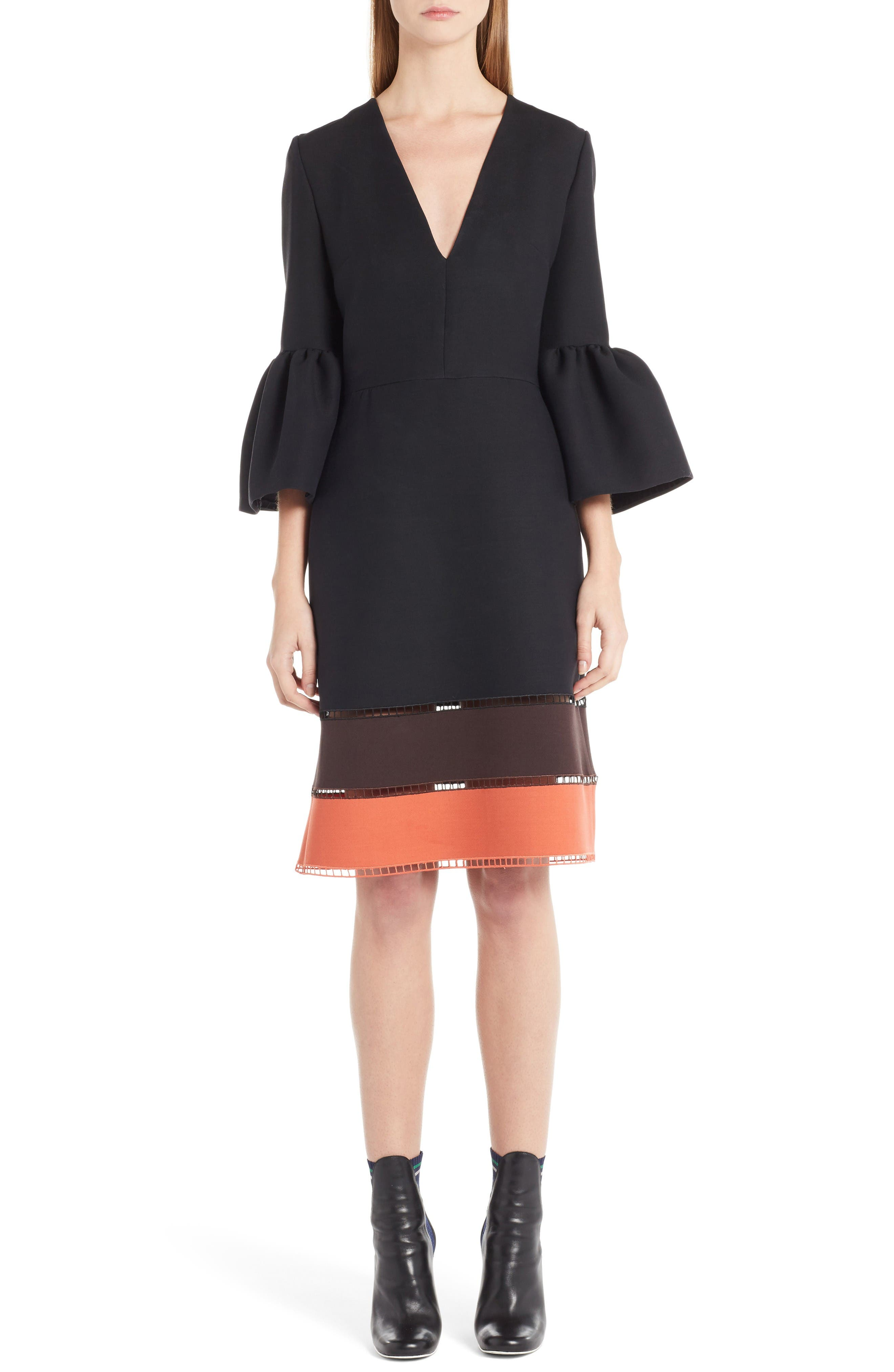 Fendi Wool & Silk Bell Sleeve Shift Dress