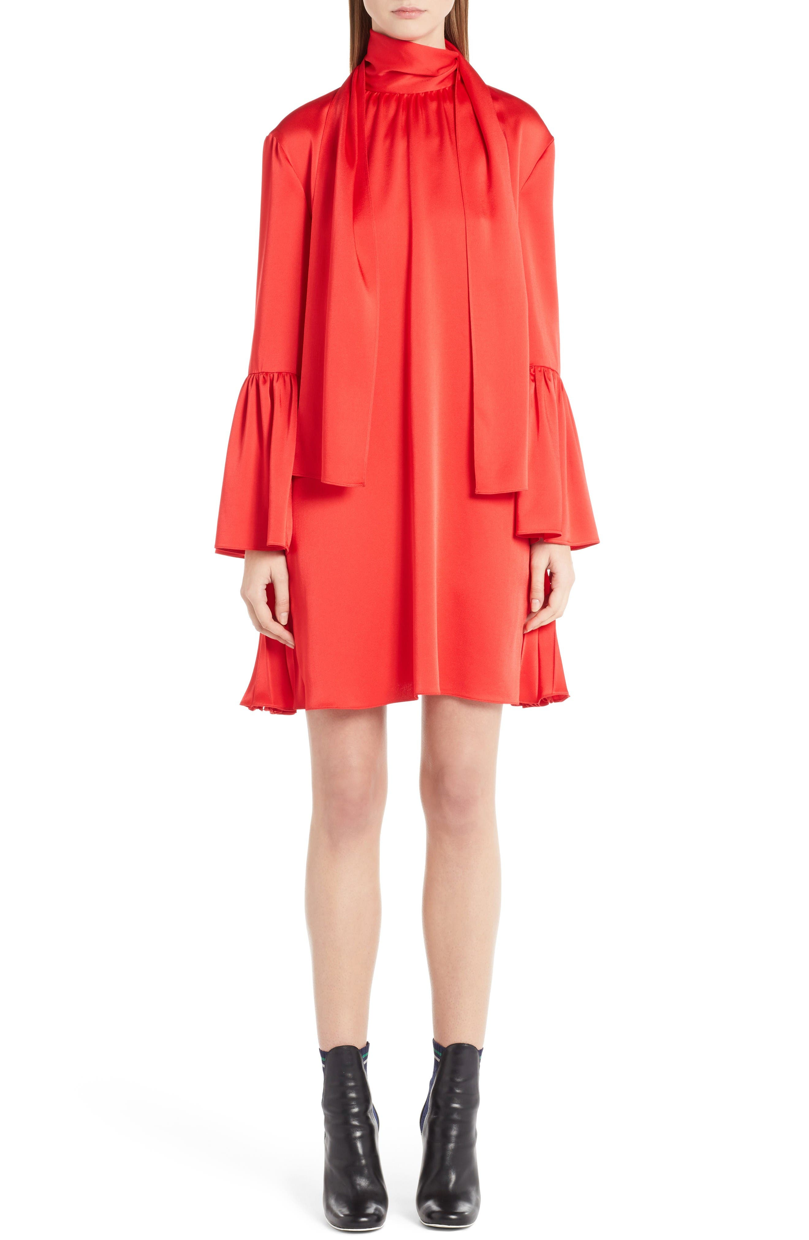 Fendi Bell Sleeve Tie Neck Dress