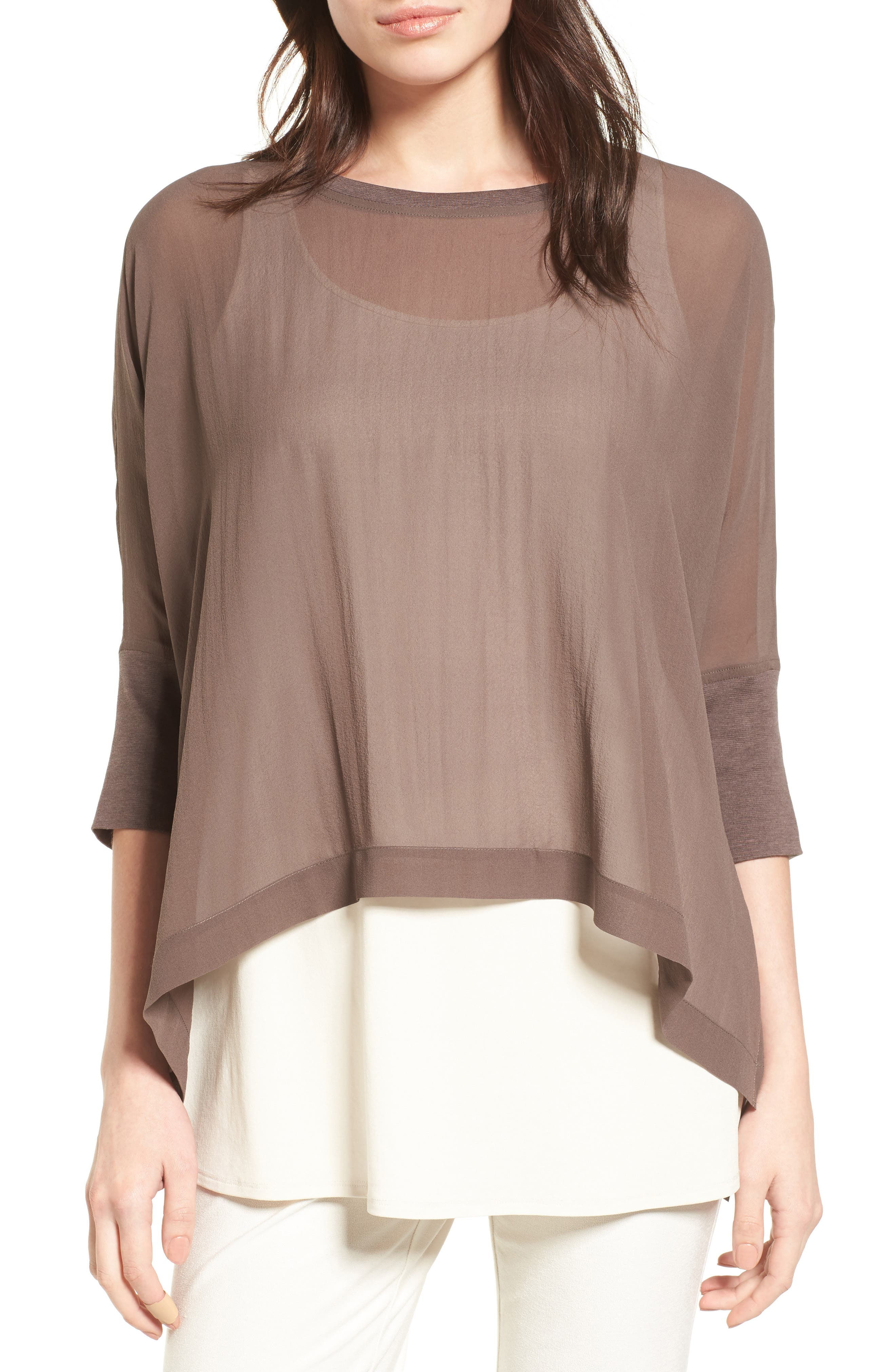 Eileen Fisher Knit Trim Boxy Silk Poncho Top (Regular & Petite)