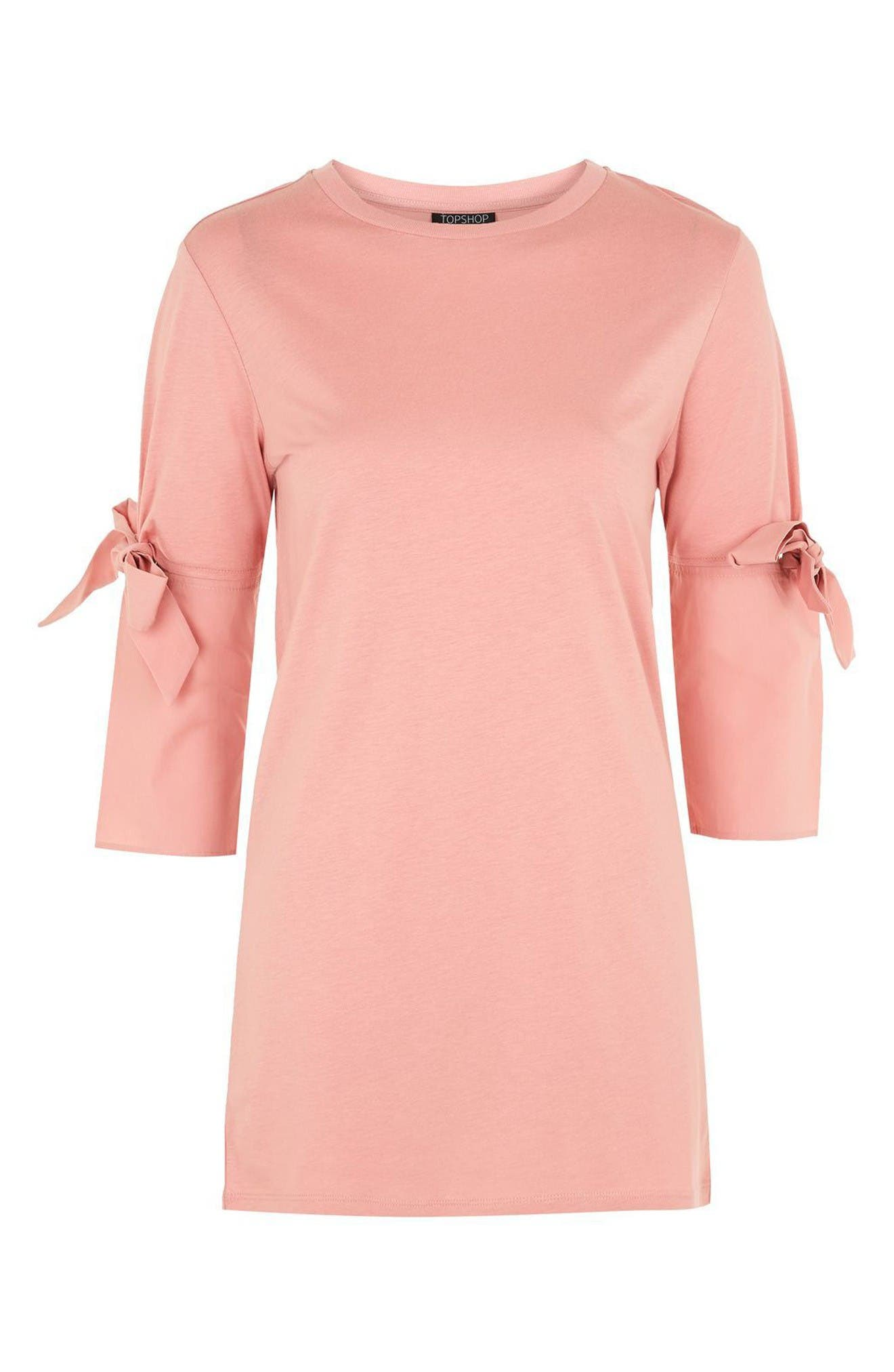 Alternate Image 1 Selected - Topshop Tie Sleeve Longline Tee