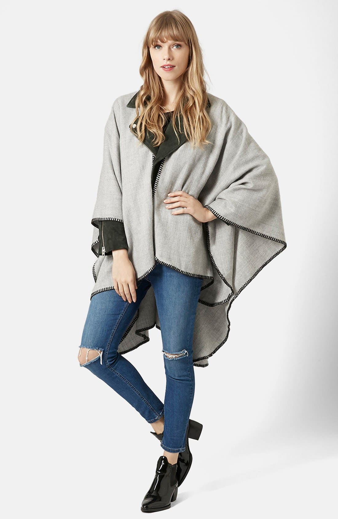 Alternate Image 2  - Topshop Blanket Stitch Cape