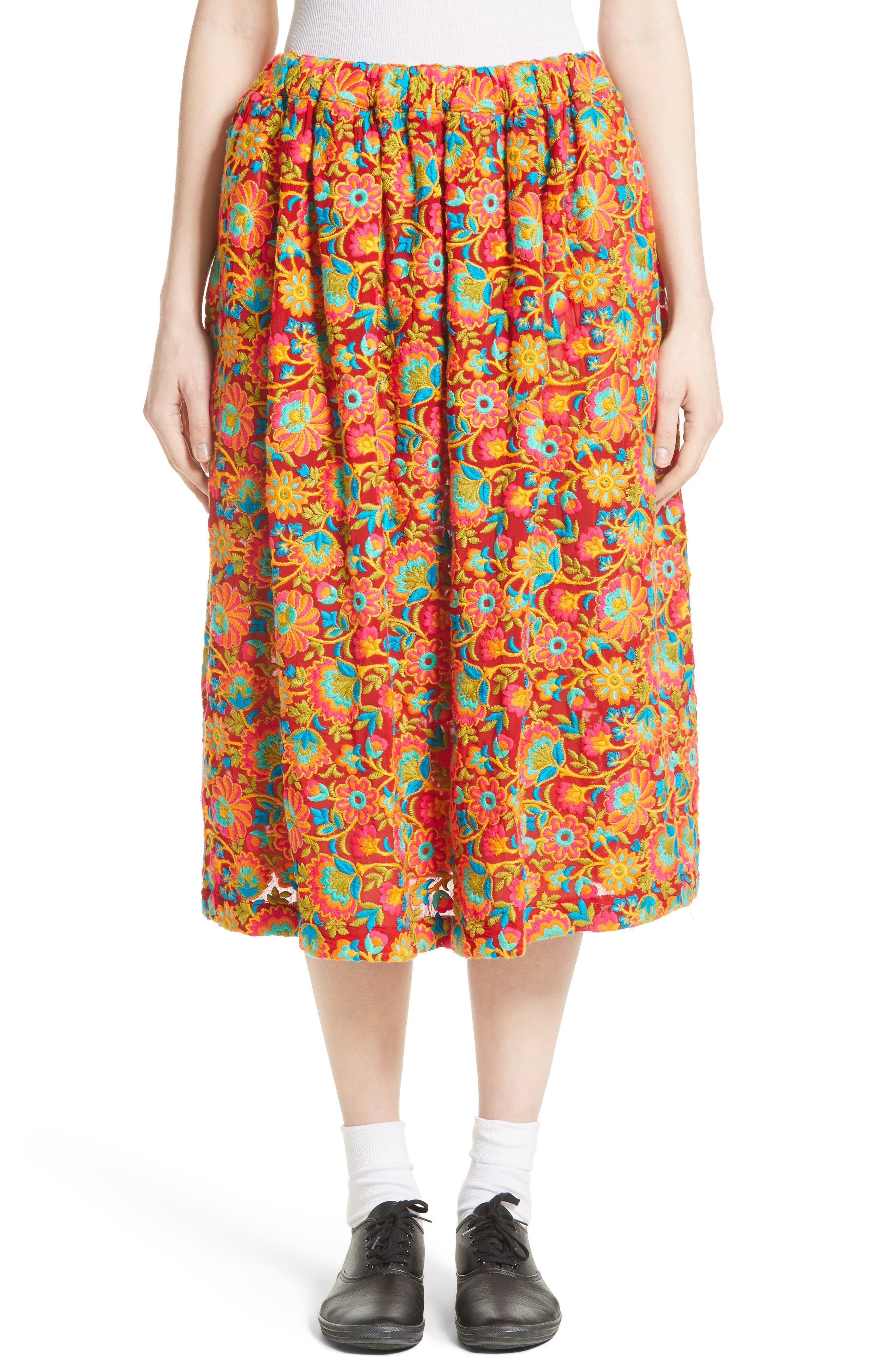 Comme des Garçons Floral Embroidered Midi Skirt