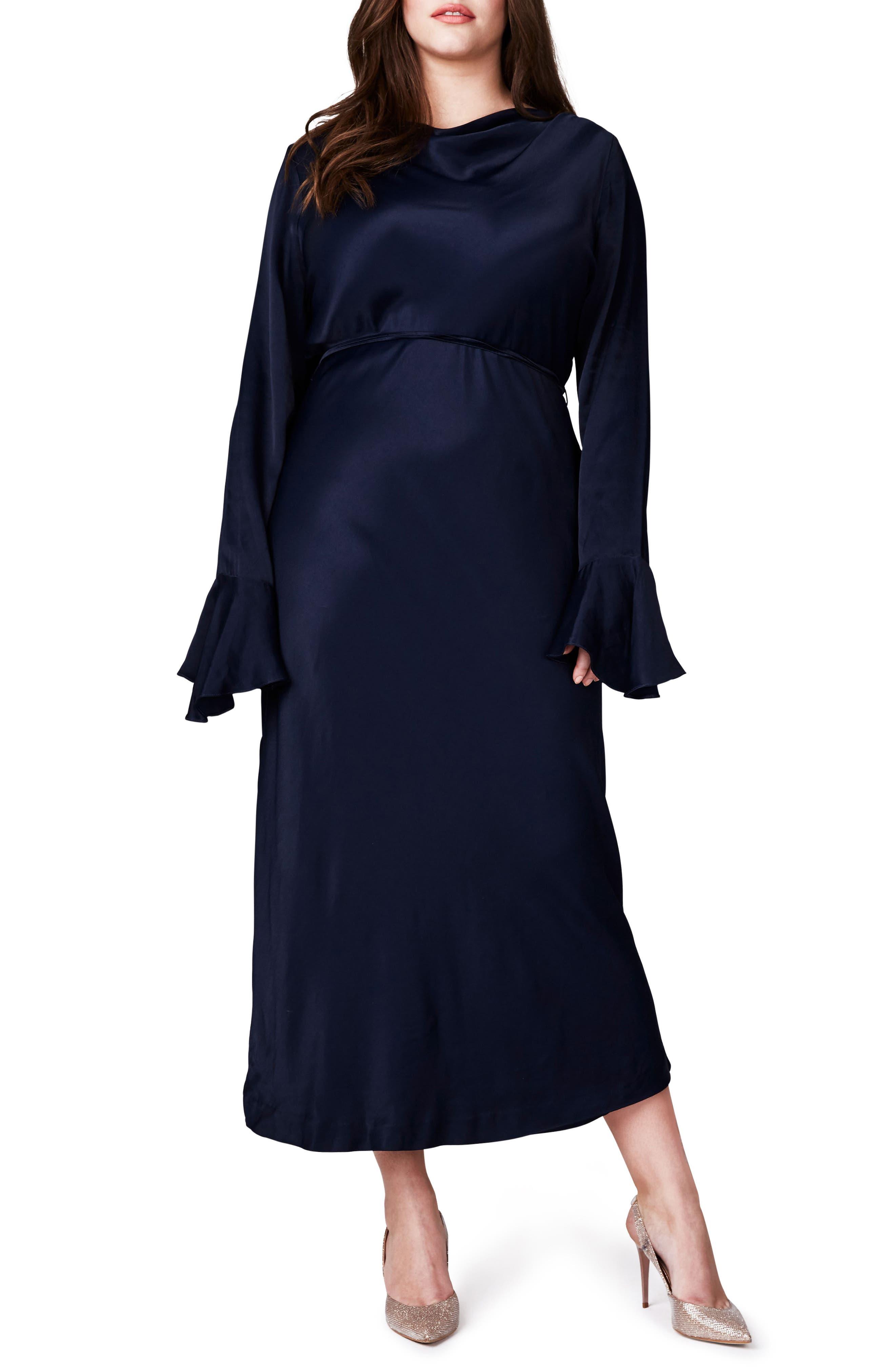 ELVI Bell Sleeve Midi Dress (Plus Size)