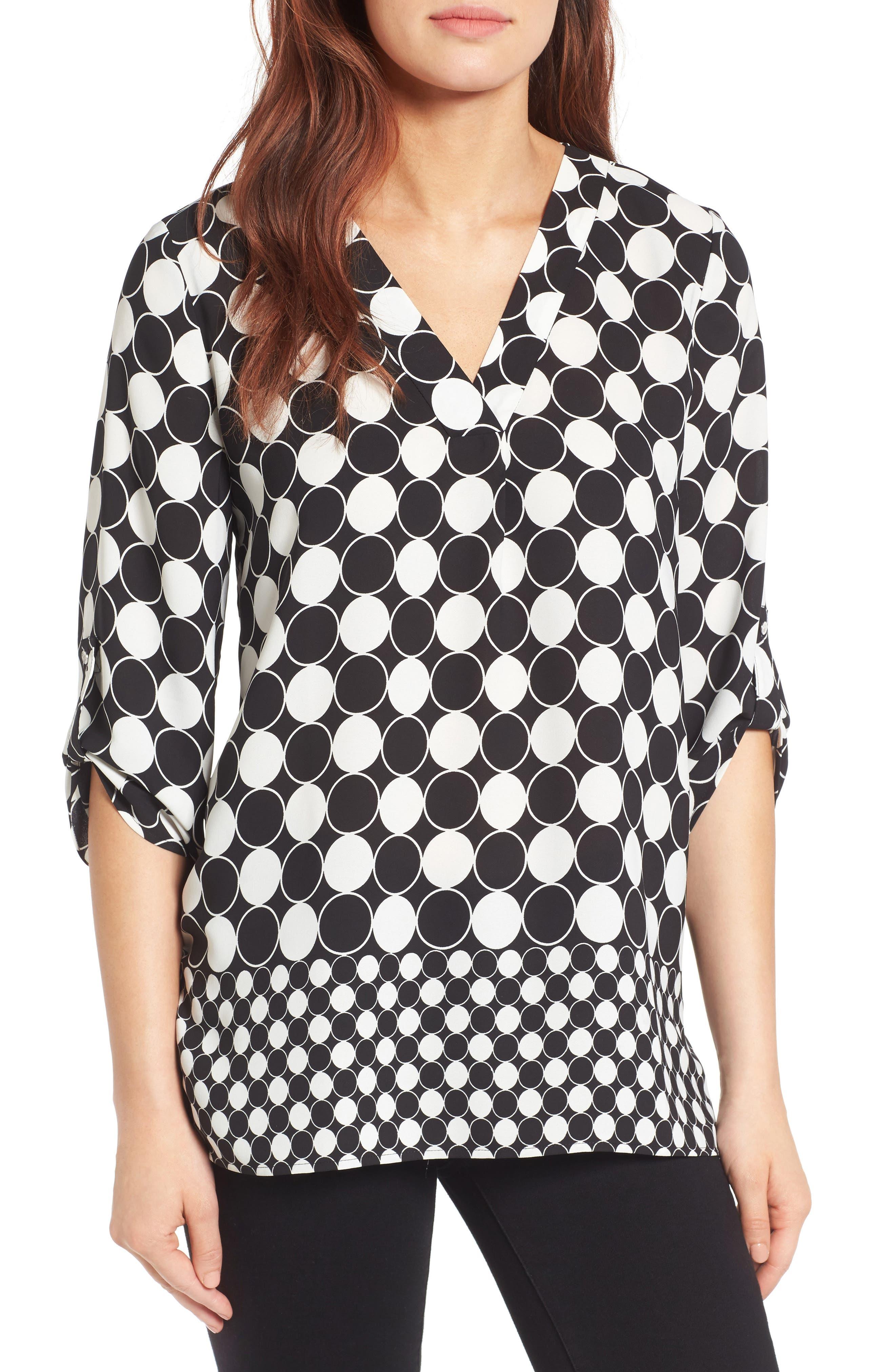Chaus Checker Dot Roll Sleeve Blouse