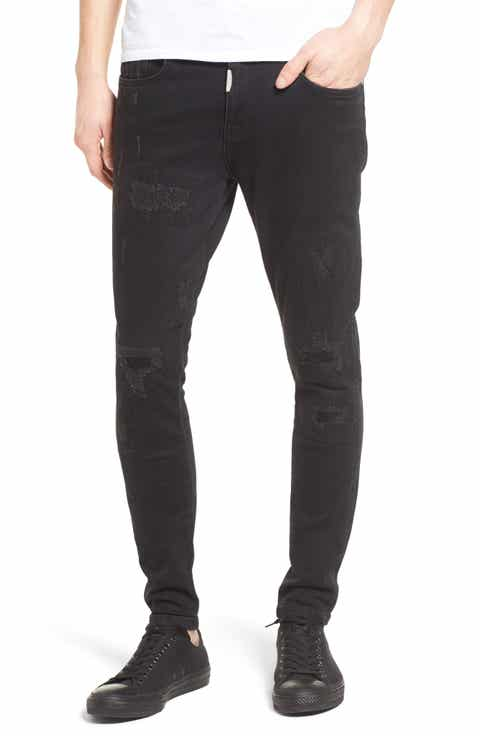 Represent Repairer Skinny Fit Jeans (Stained Black)