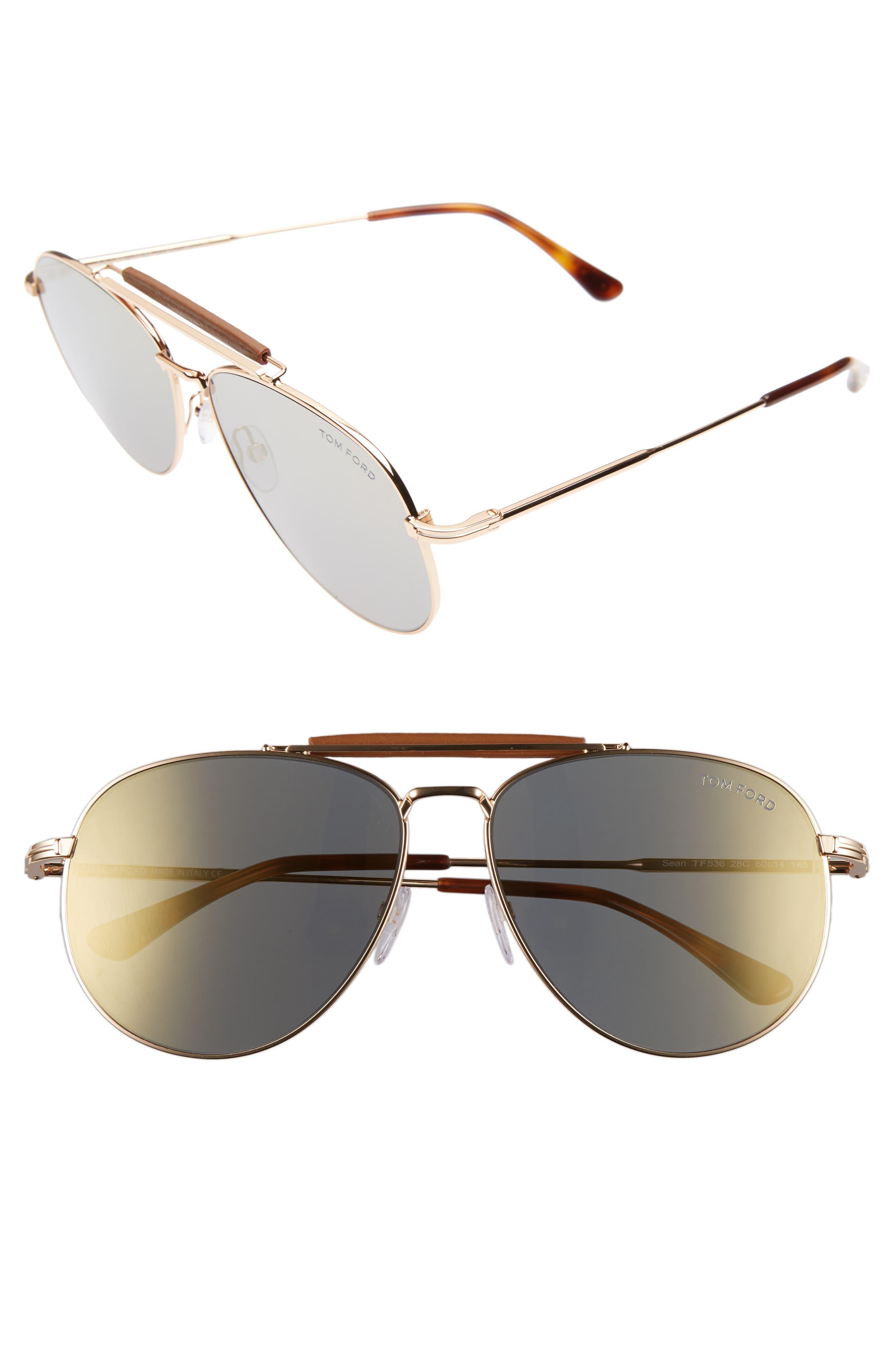 Tom Ford Sean 60mm Aviator Sunglasses