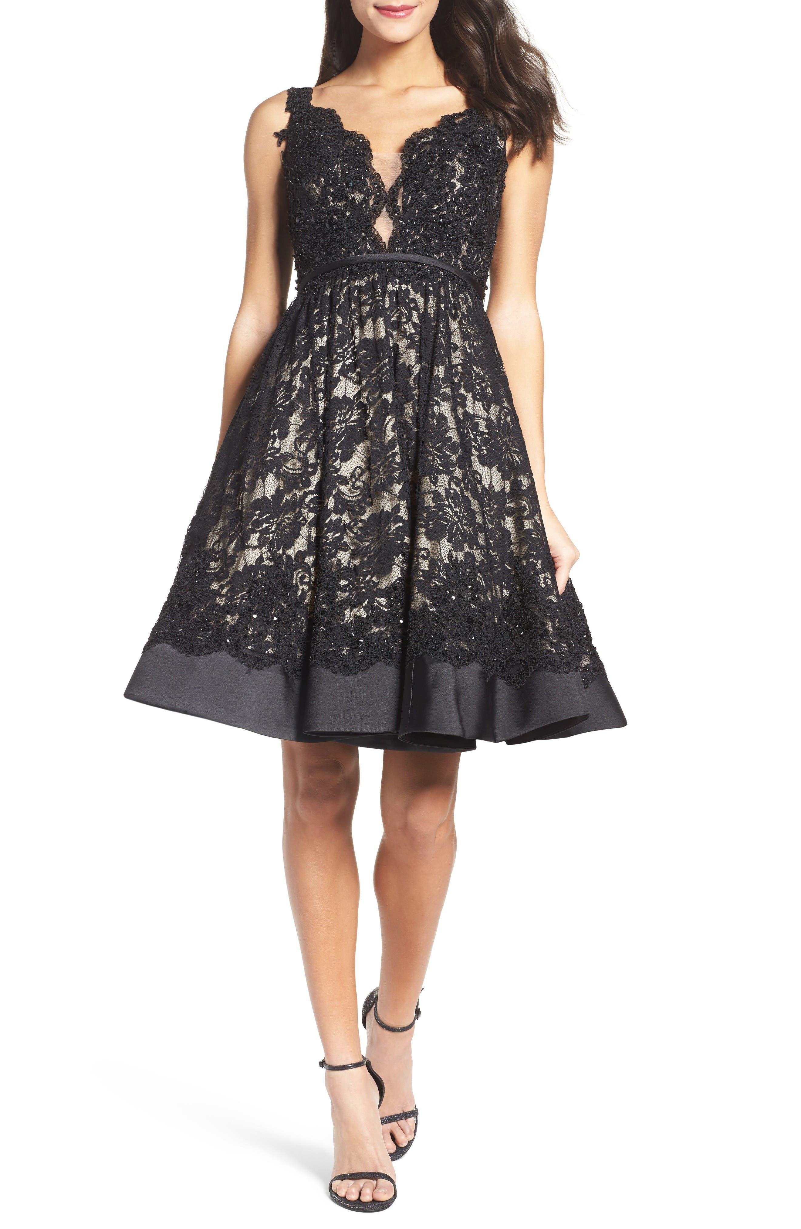 Mac Duggal Lace Fit & Flare Dress