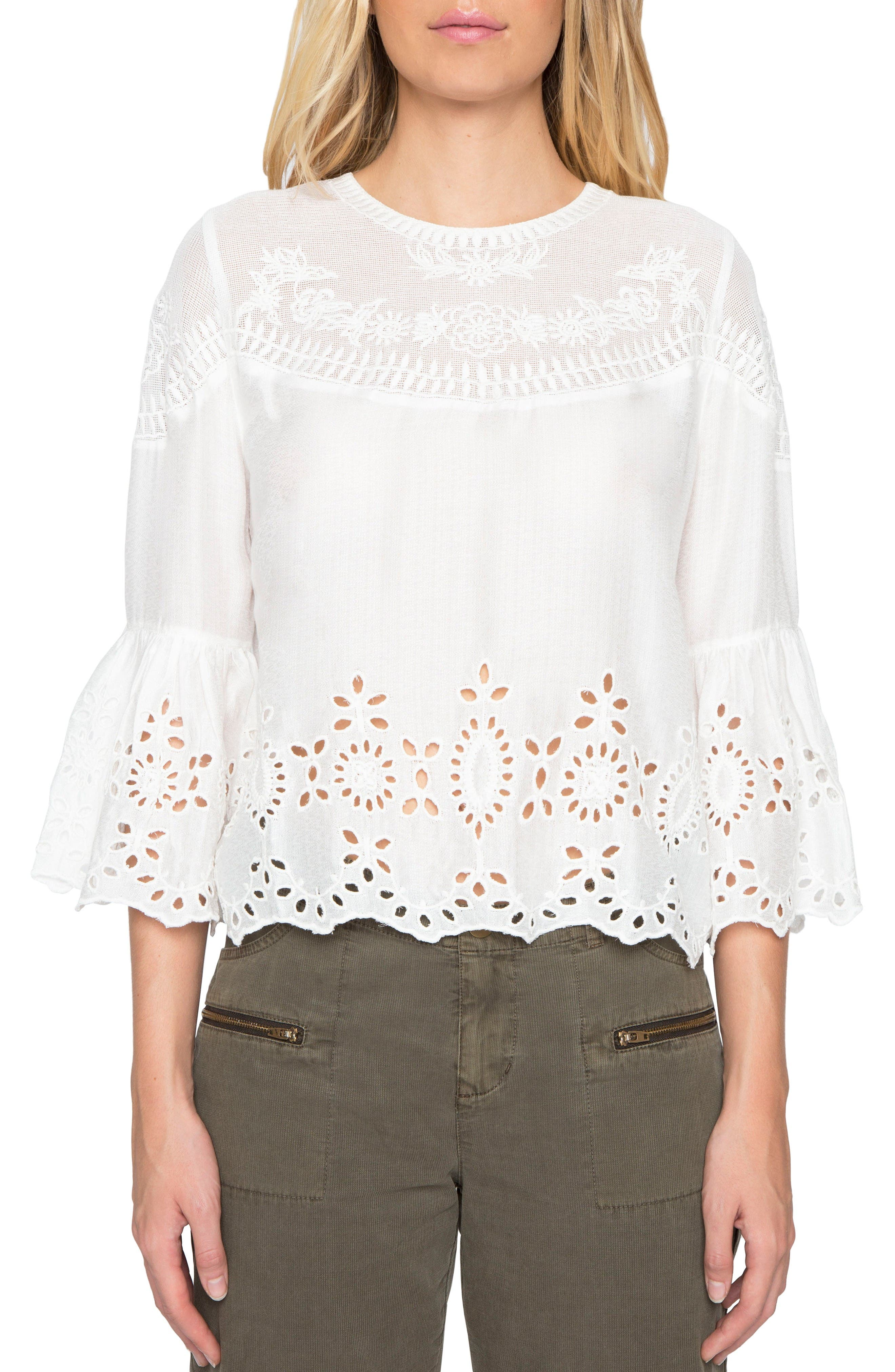 Main Image - Willow & Clay Embroidered Bell Sleeve Top