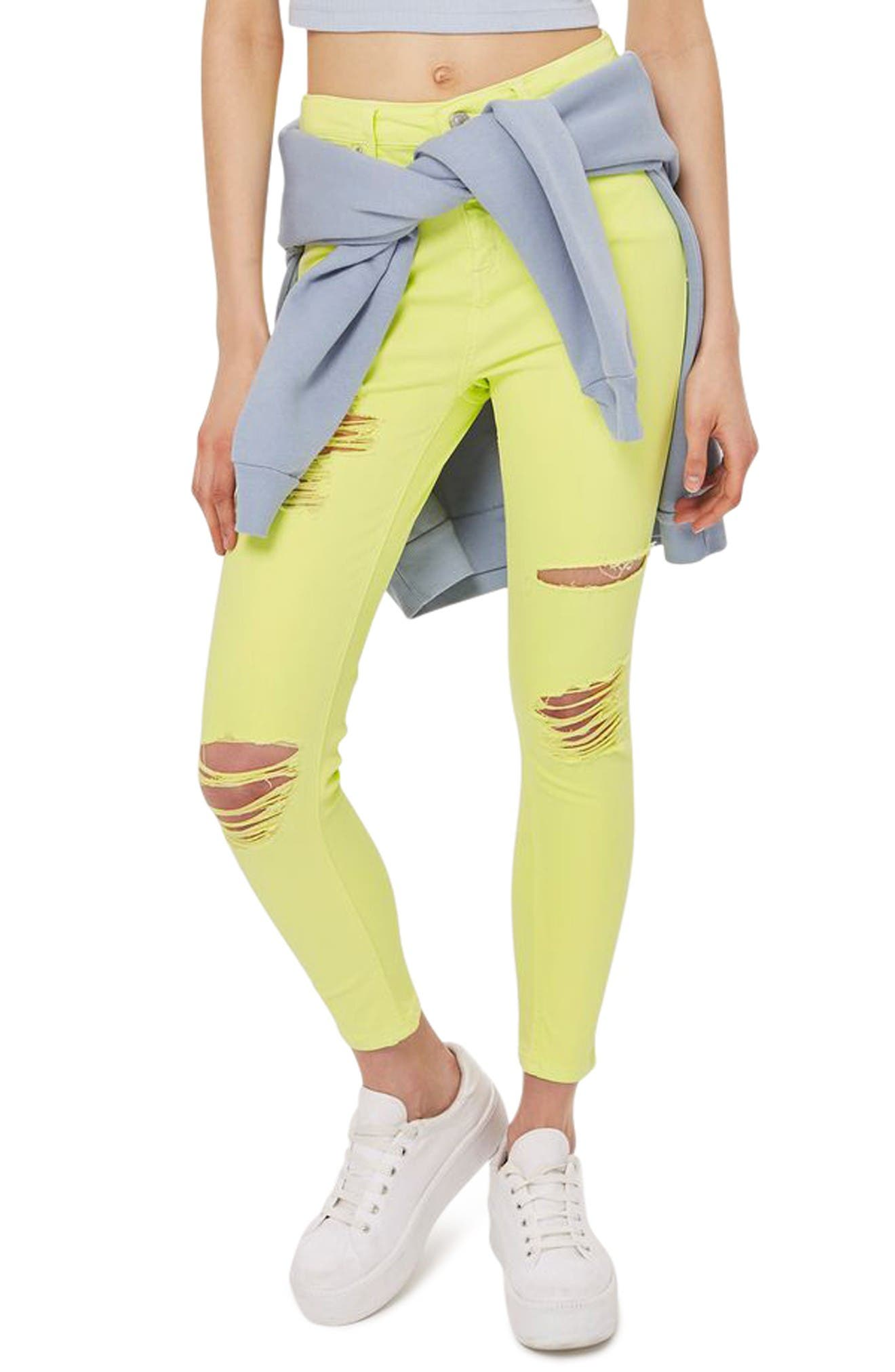 Main Image - Topshop Jamie Ripped Skinny Jeans (Lime)