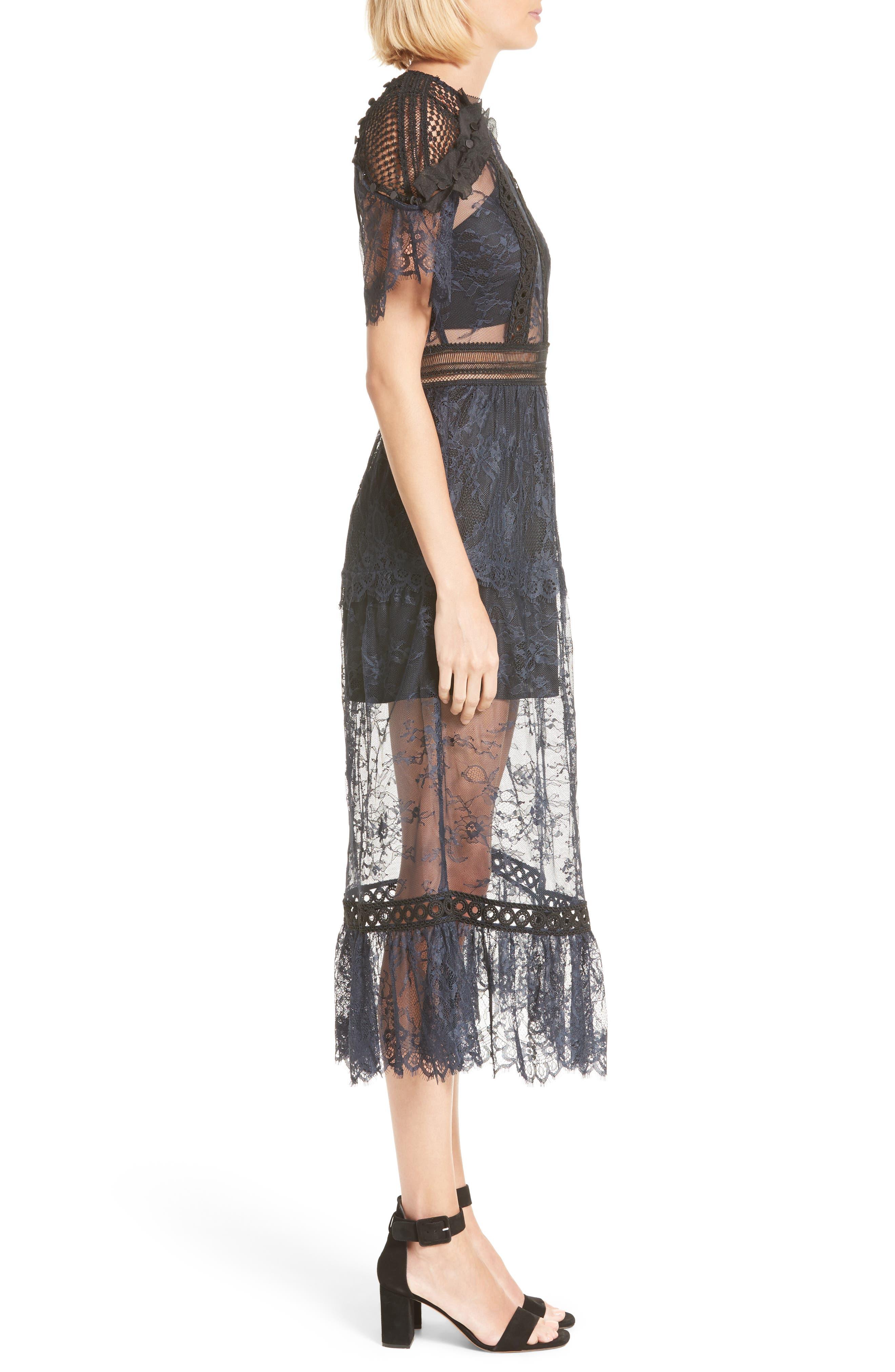 Alternate Image 3  - Self-Portrait Frilled Lace Midi Dress
