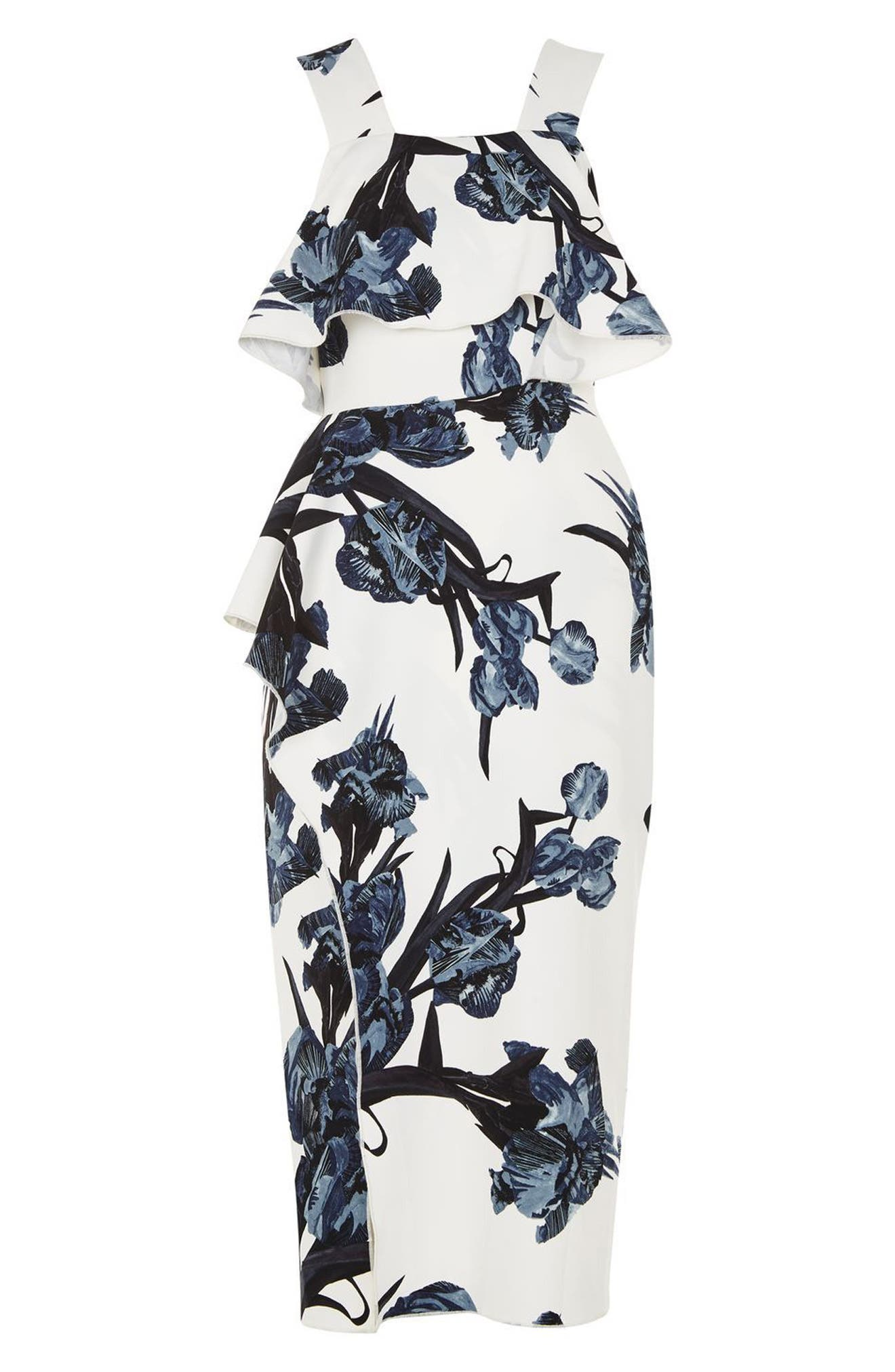 Alternate Image 4  - Topshop Floral Ruffle Midi Dress