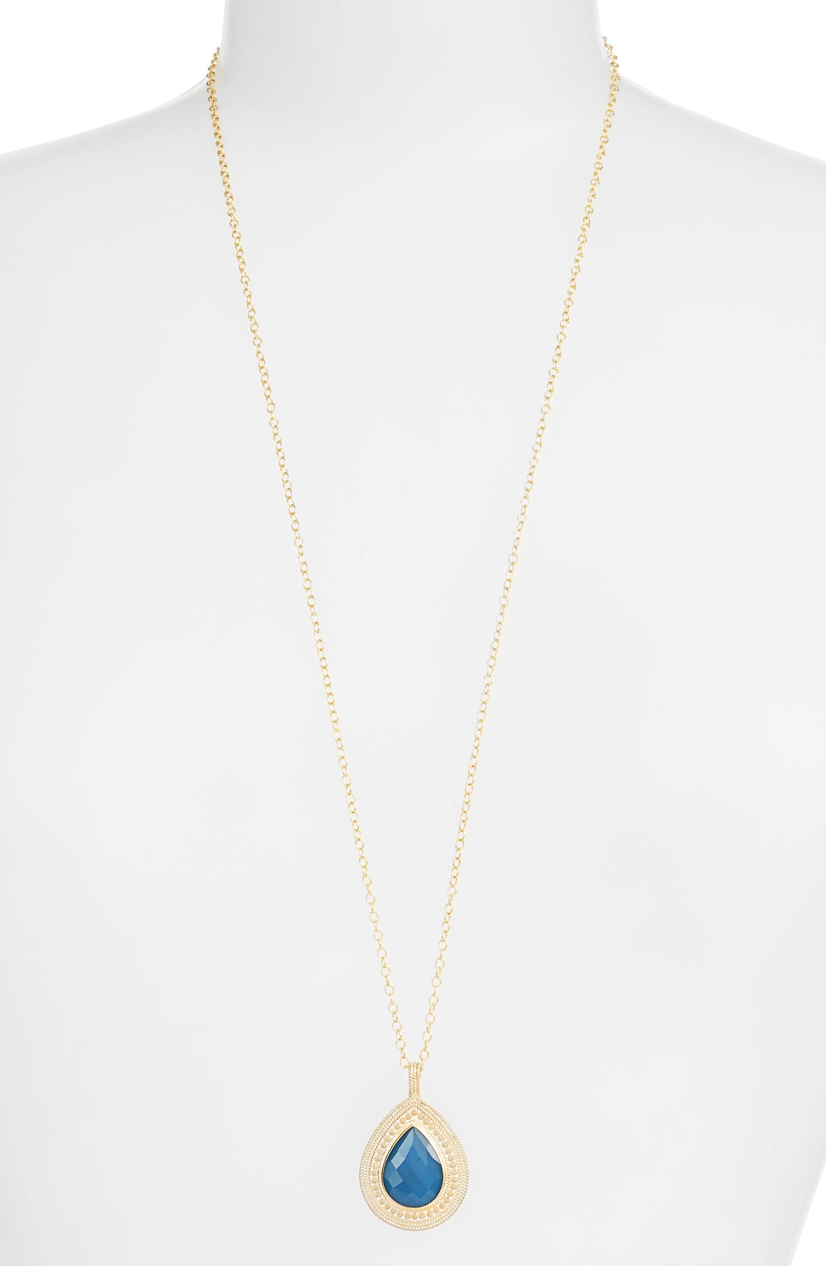 Anna Beck Blue Quartz Large Reversible Pendant Necklace